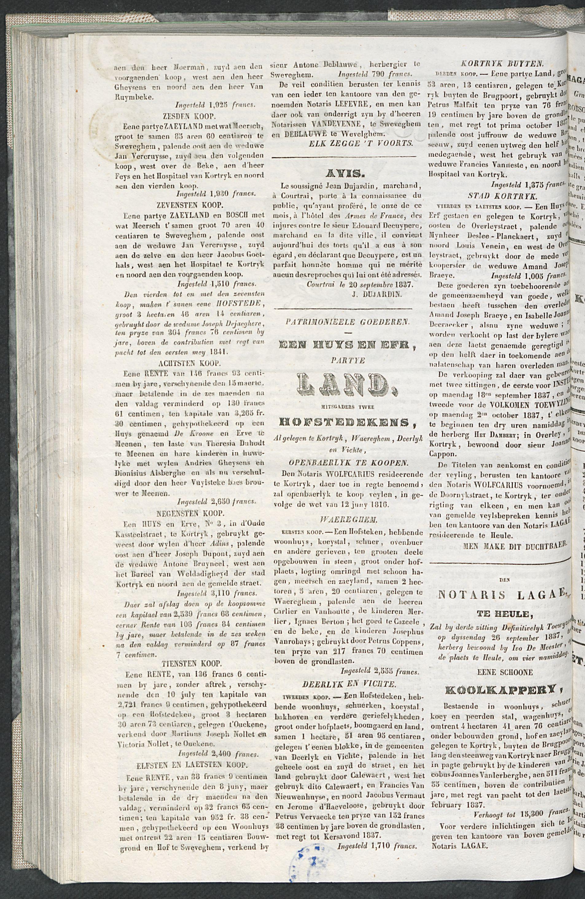 Petites Affiches De Courtrai 1837-09-21 p2