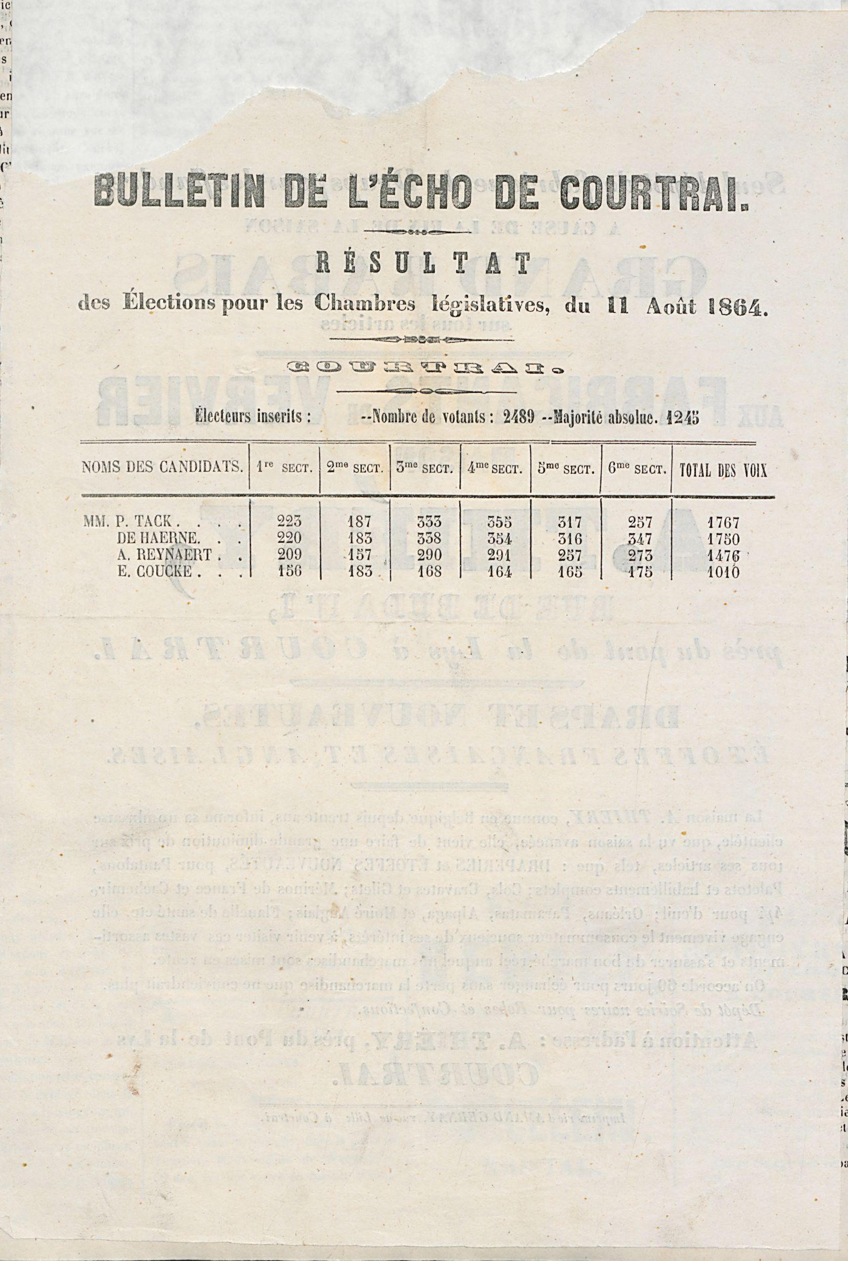 L'echo De Courtrai 1864-08-14 p4