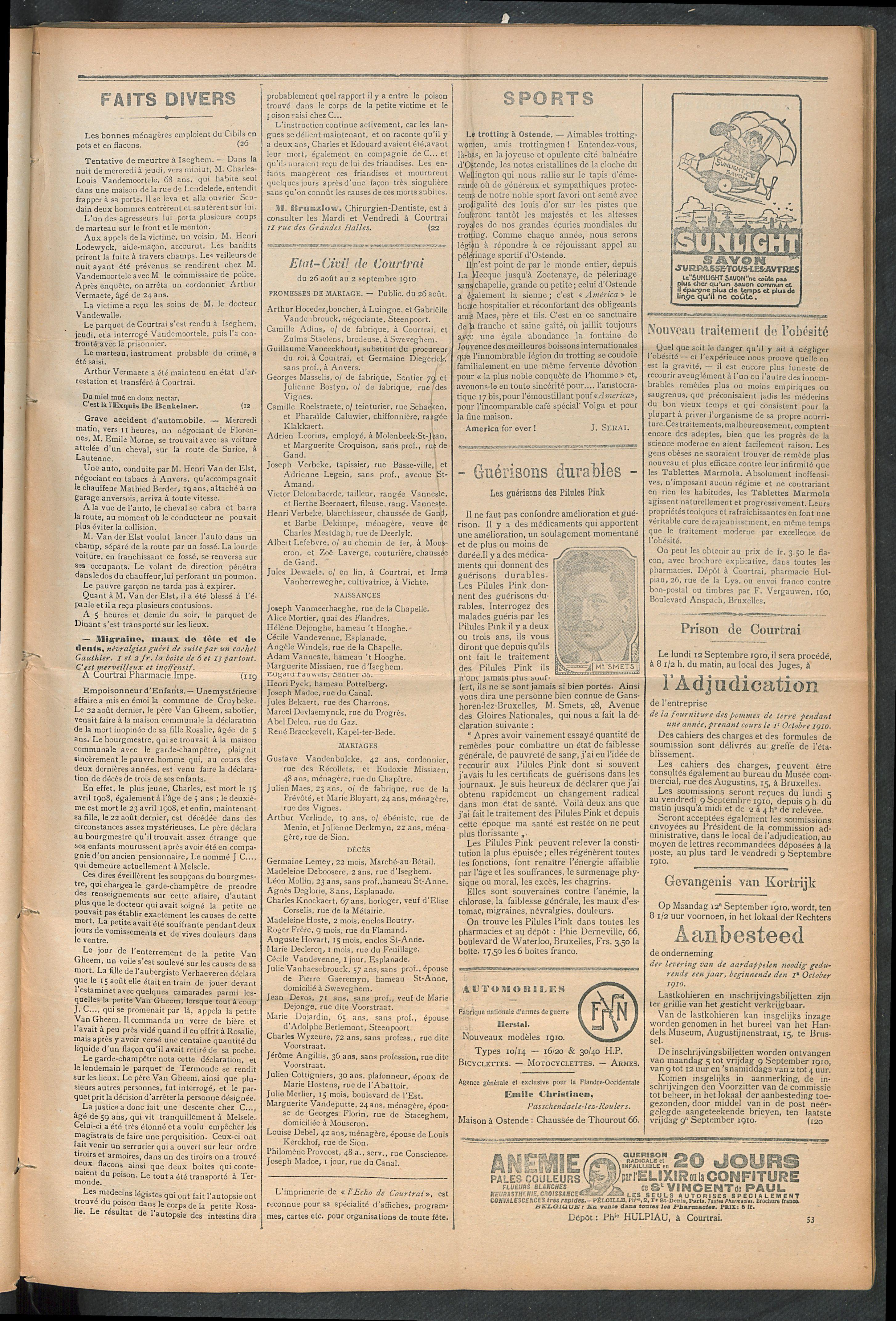L'echo De Courtrai 1910-09-04 p3