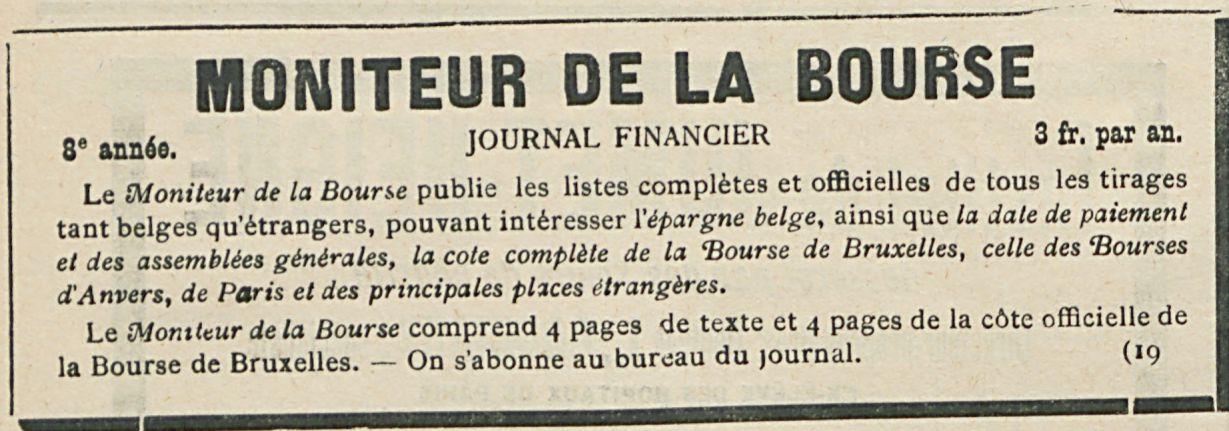 MONITEUR DE LA BOURSE