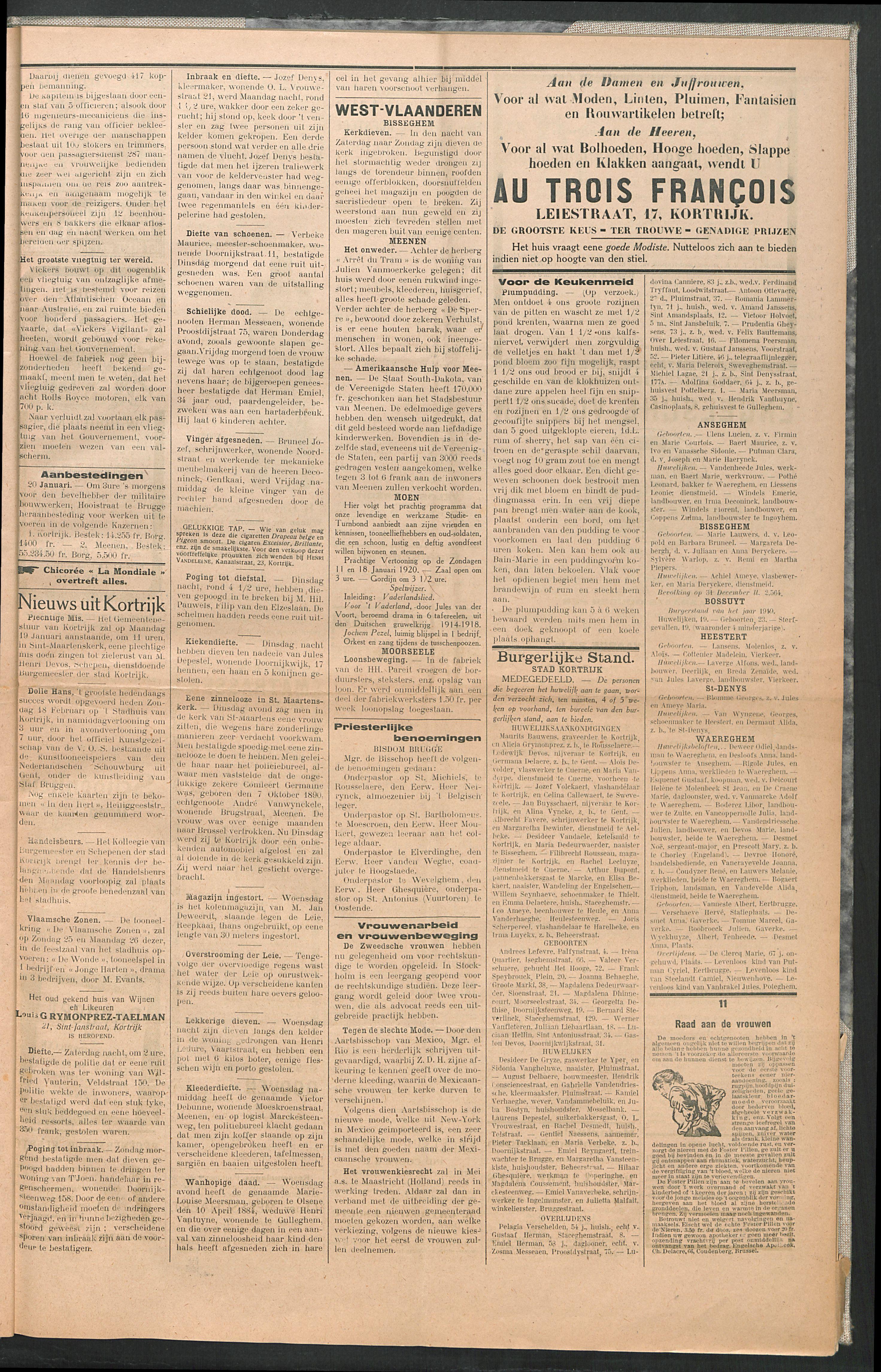 Het Kortrijksche Volk 1920-01-18 p3