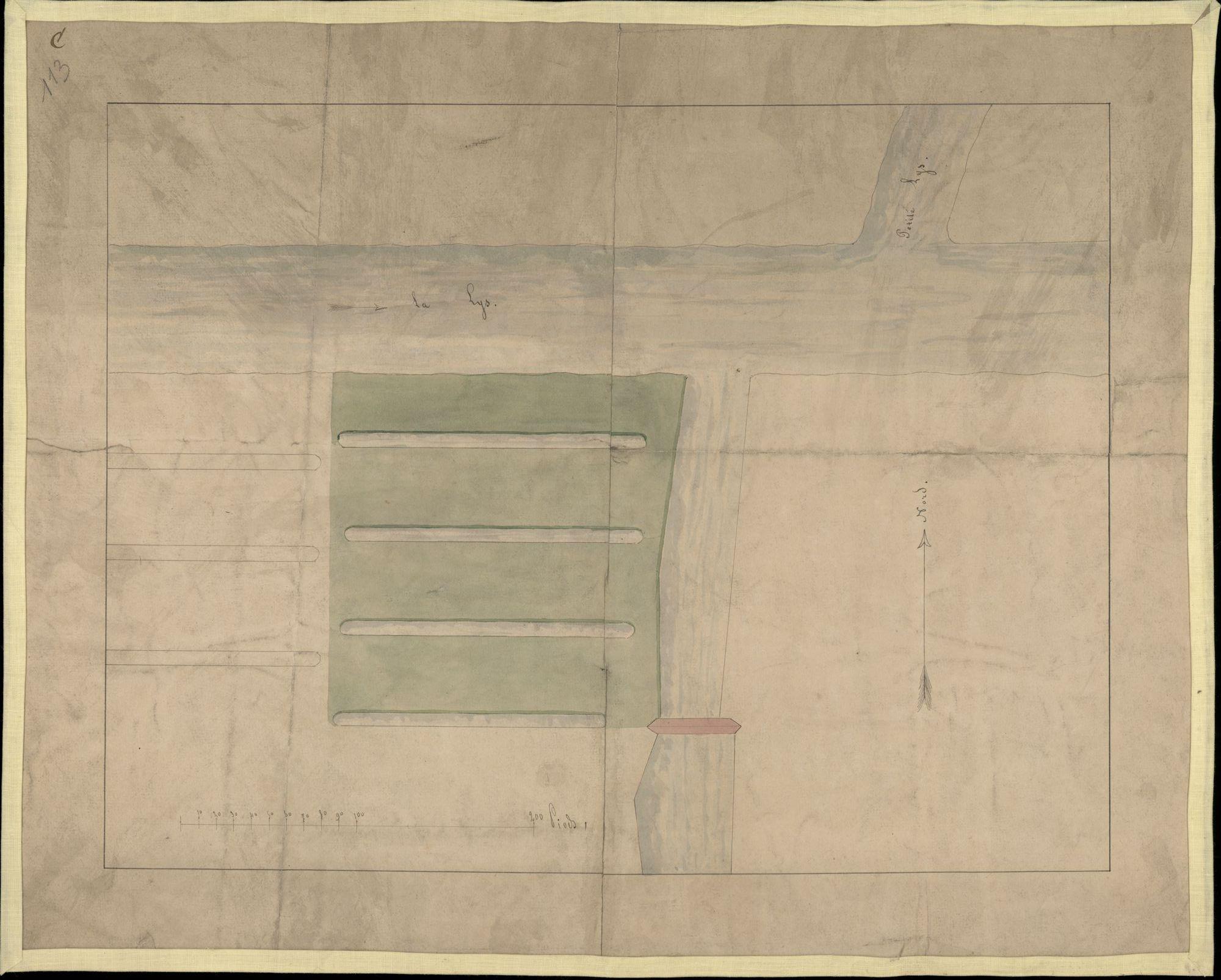 Kaart van een bleekweide tussen de Leie en de stadsvesten, nabij de huidige havenkaai, 19de eeuw