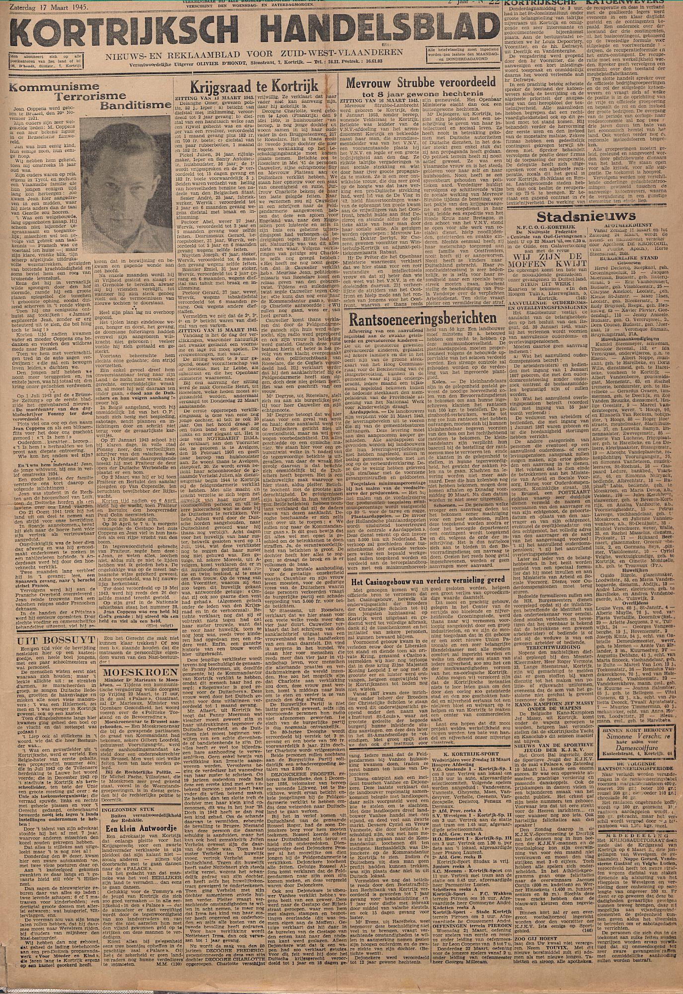 Kortrijksch Handelsblad 17 maart 1945, Nr22 p1