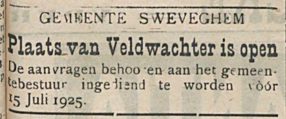 Plaats van Veldwachter is open