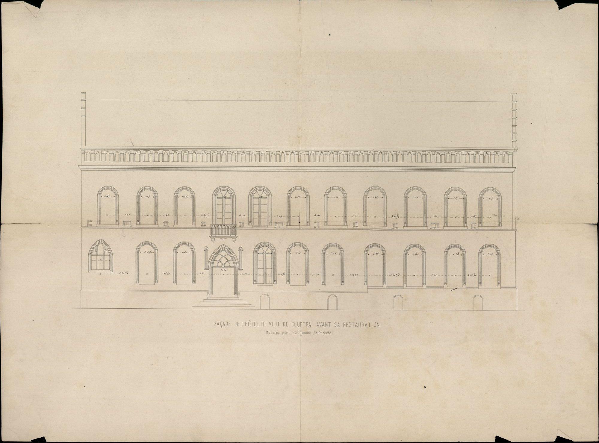 Plattegronden van de voorgevel van het stadhuis van Kortrijk, ± 1855