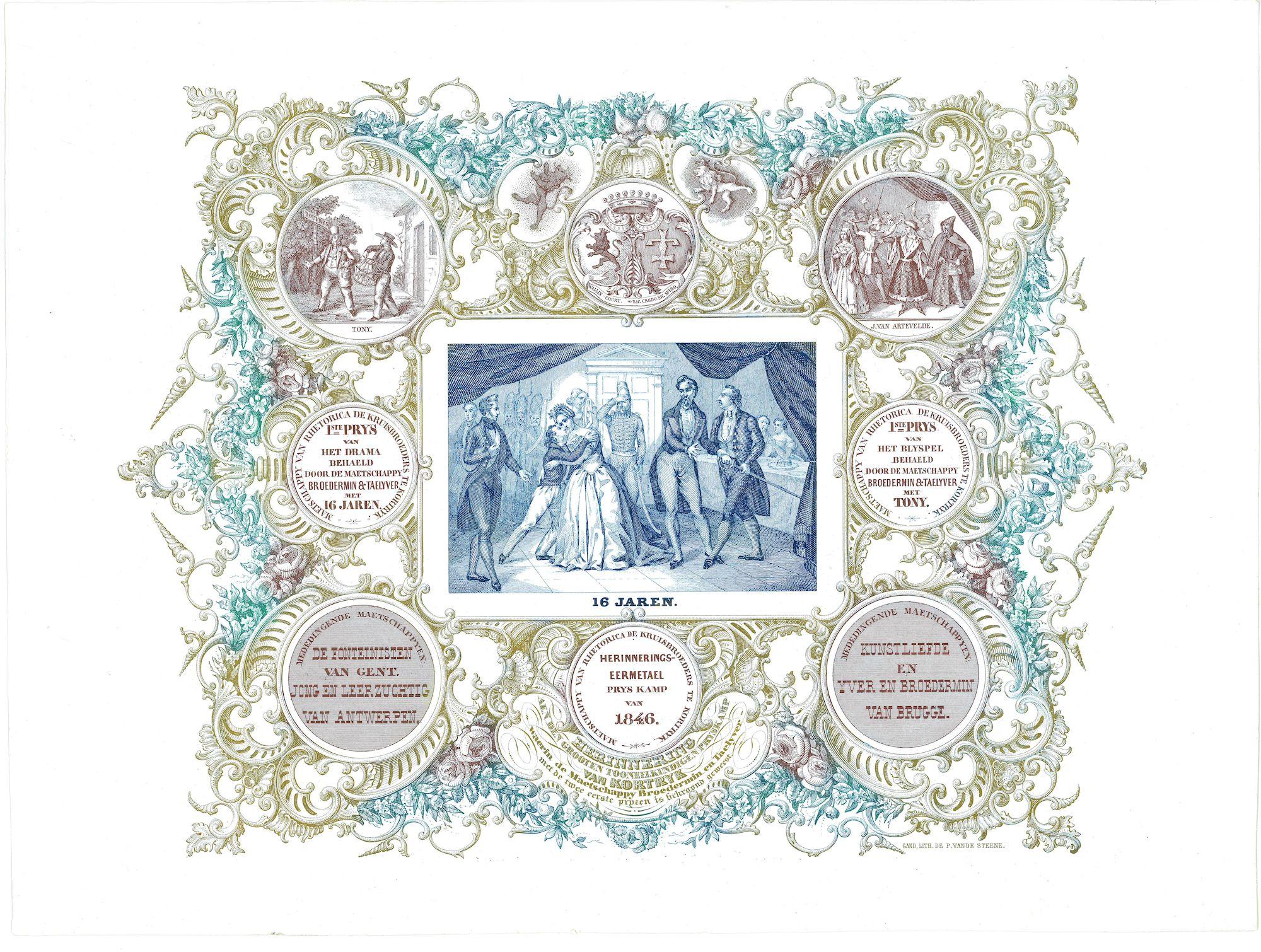 """Porseleinkaart van De Maetschappy """"Broedermin & Taelyver"""" 1846"""