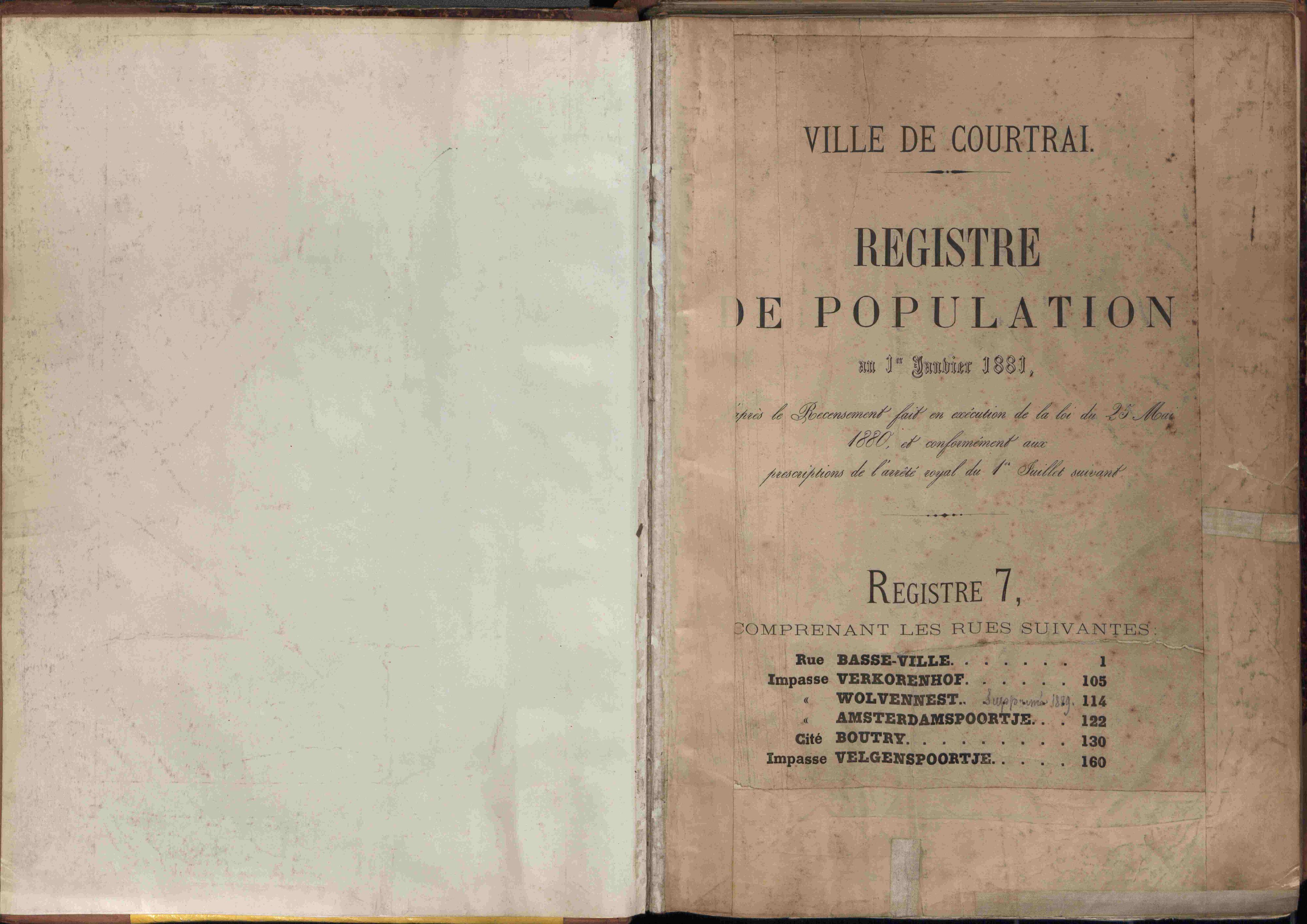 Bevolkingsregister Kortrijk 1880 boek 7