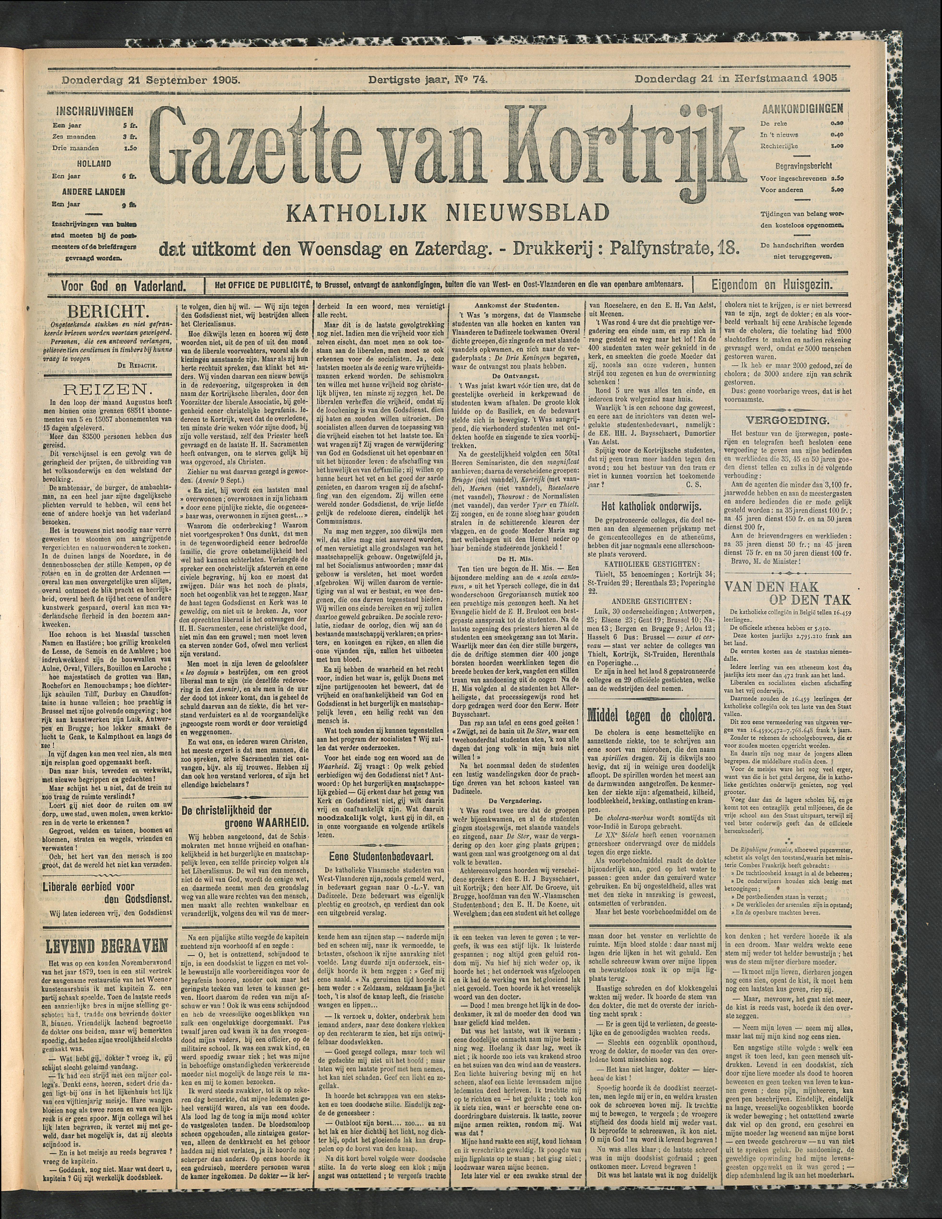 Gazette Van Kortrijk 1905-09-21 p1