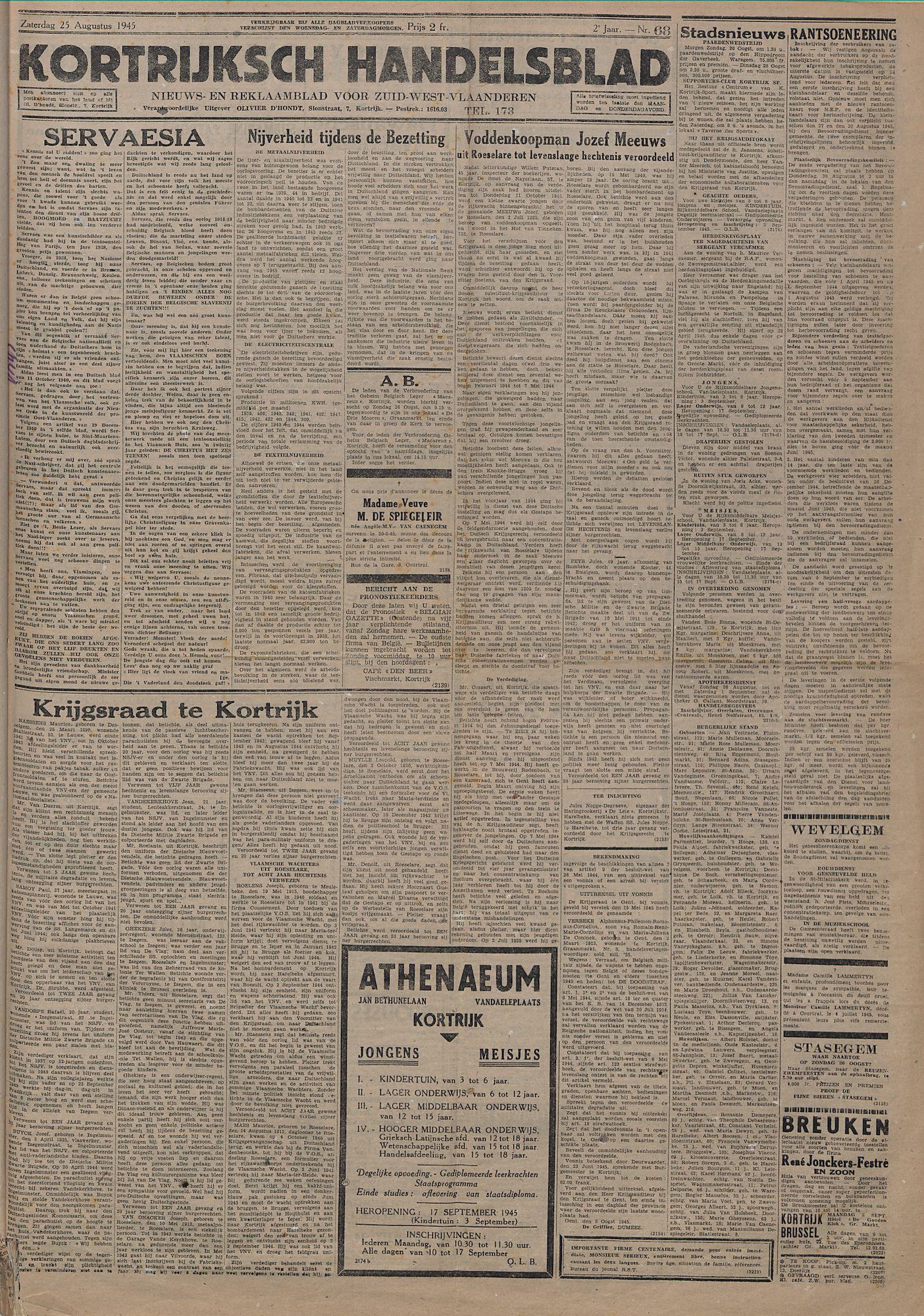 Kortrijksch Handelsblad 25 augustus 1945 Nr68 p1