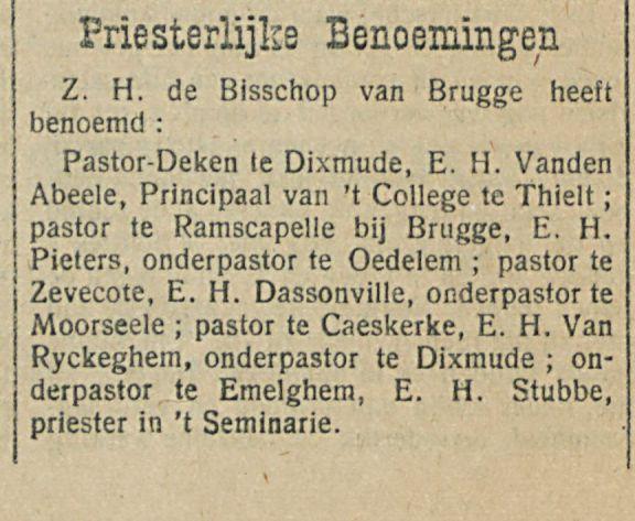 Priesterlijke Benoemingen