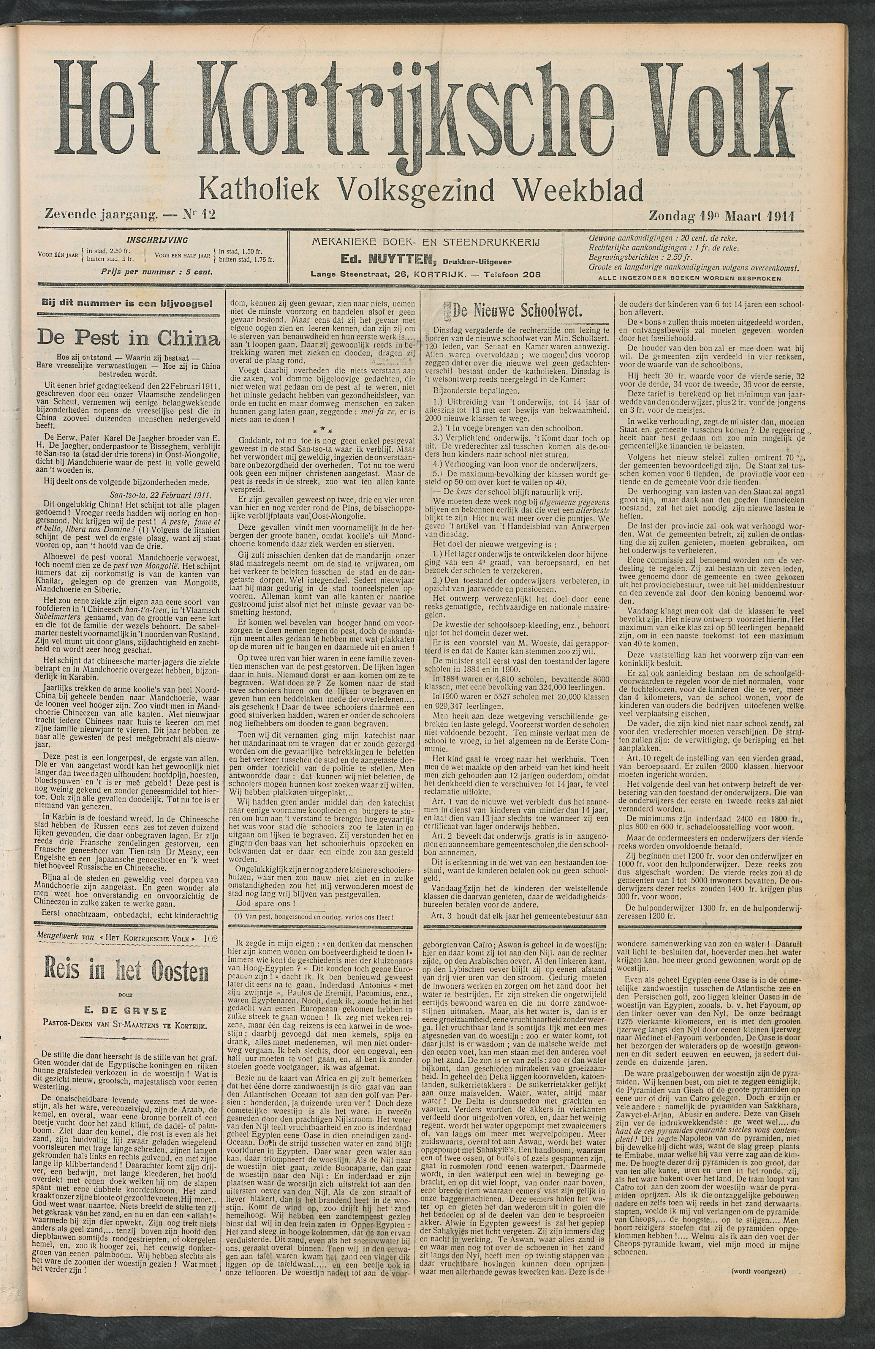 Het Kortrijksche Volk 1911-03-19 p1