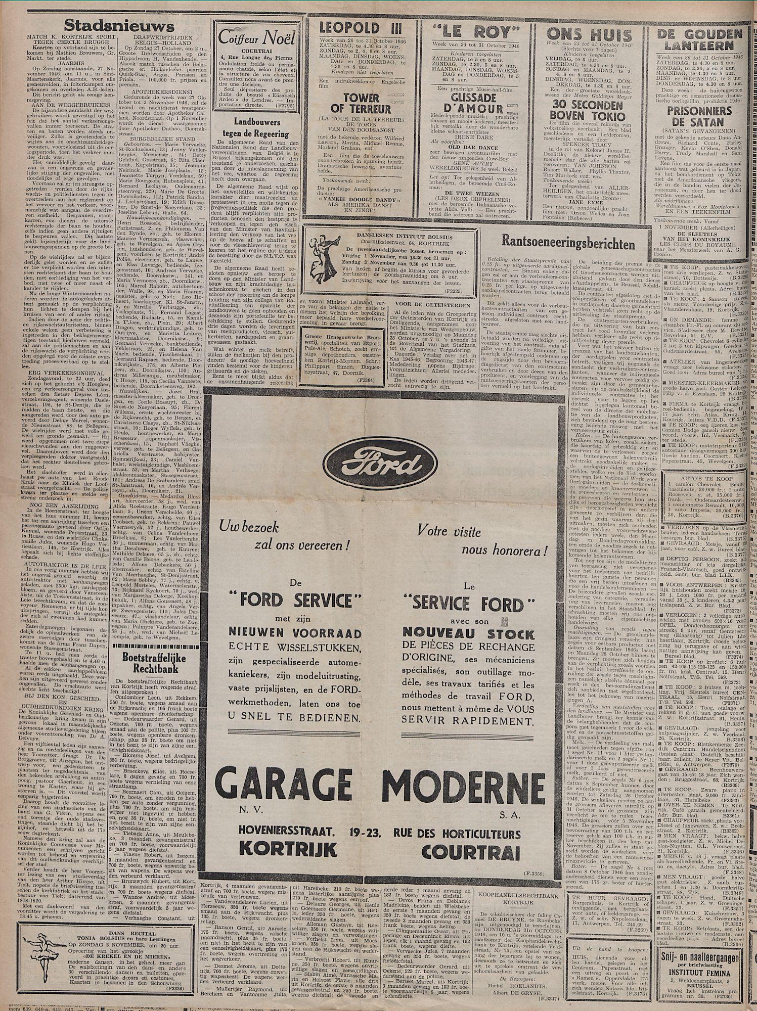 Kortrijksch Handelsblad 25 oktober 1946 Nr86 p2