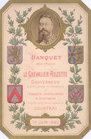 Menukaart (deel 1/4) banket Gouverneur Ruzette 1885