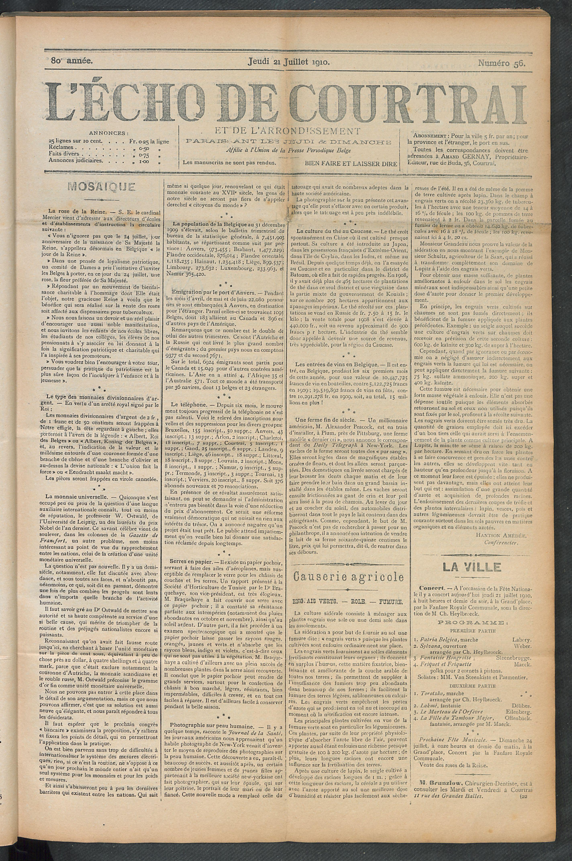 L'echo De Courtrai 1910-07-21 p1