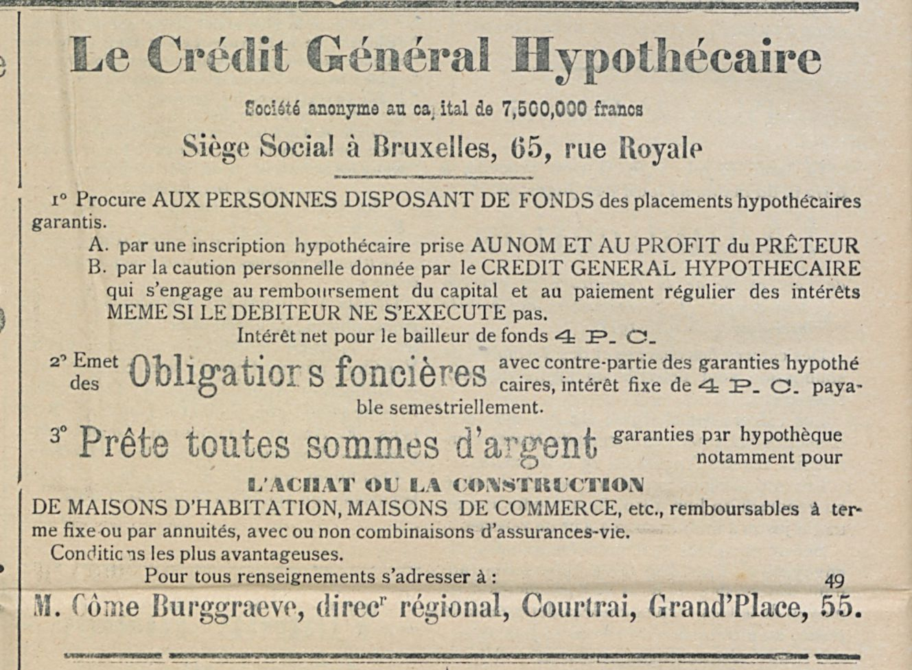 Le Credit General Hypothecaire