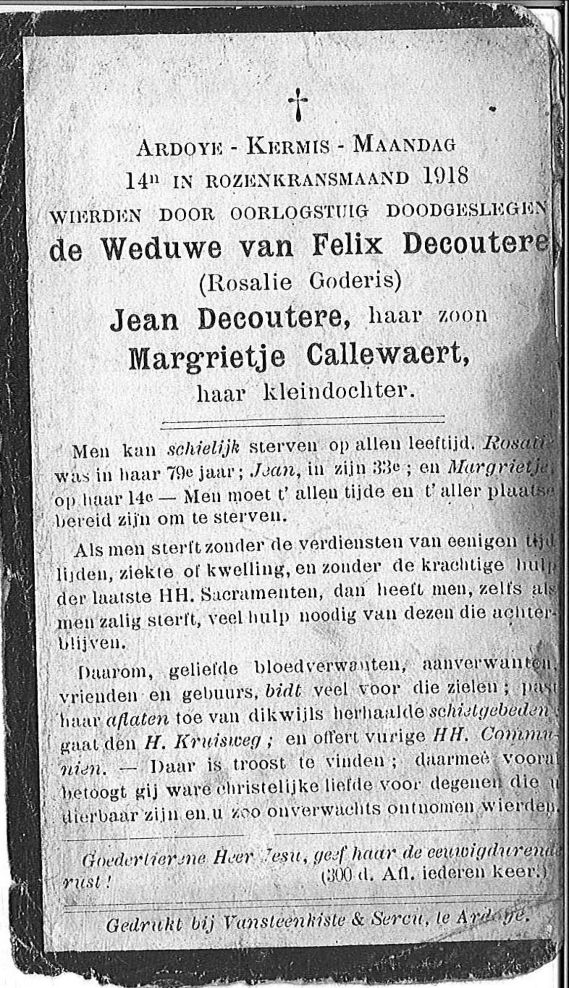Rosalie Goderis, Jean Decoutere, Margrietje Callewaert