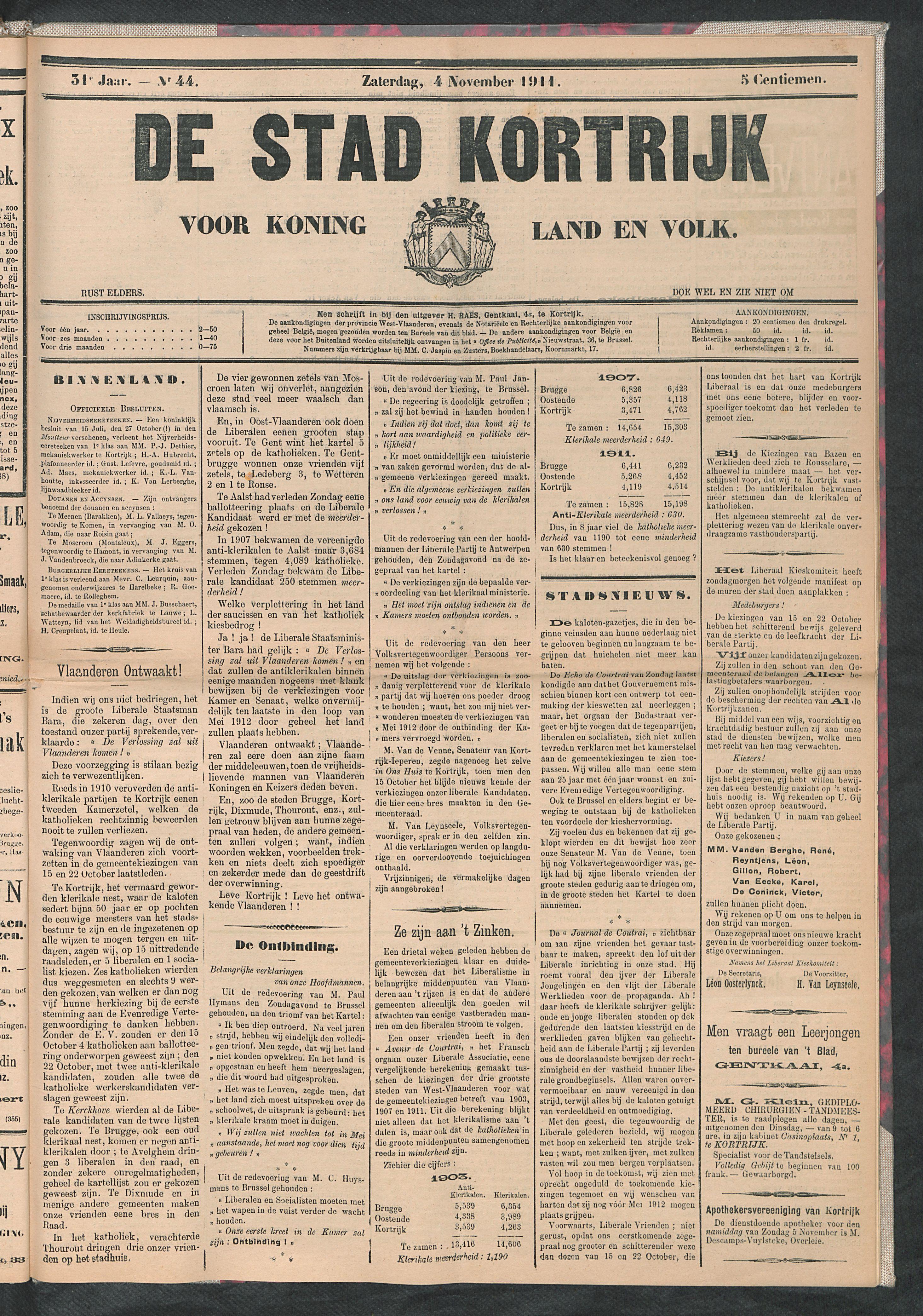 De Stad Kortrijk 1911-11-04 p1