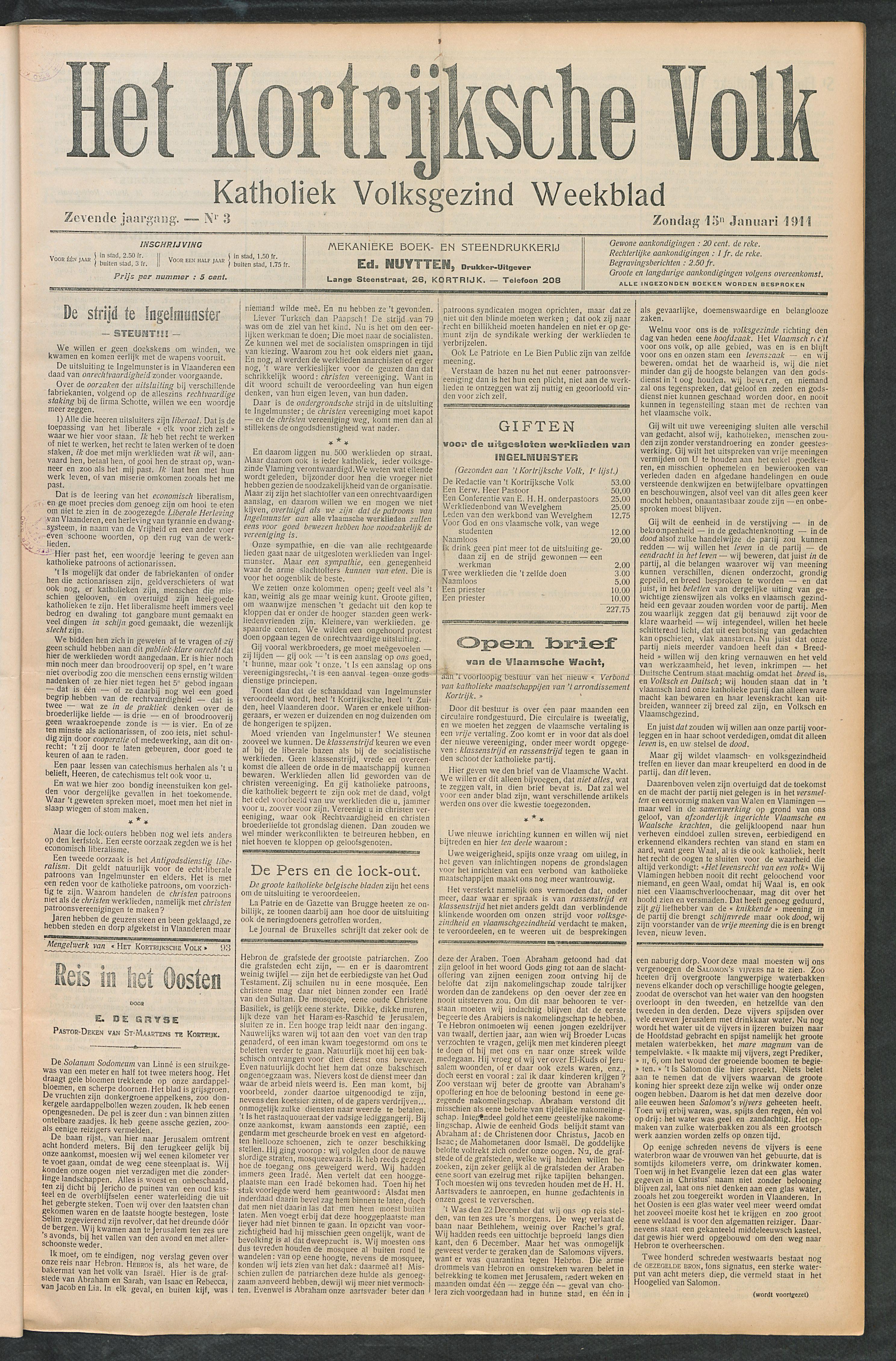 Het Kortrijksche Volk 1911-01-15 p1