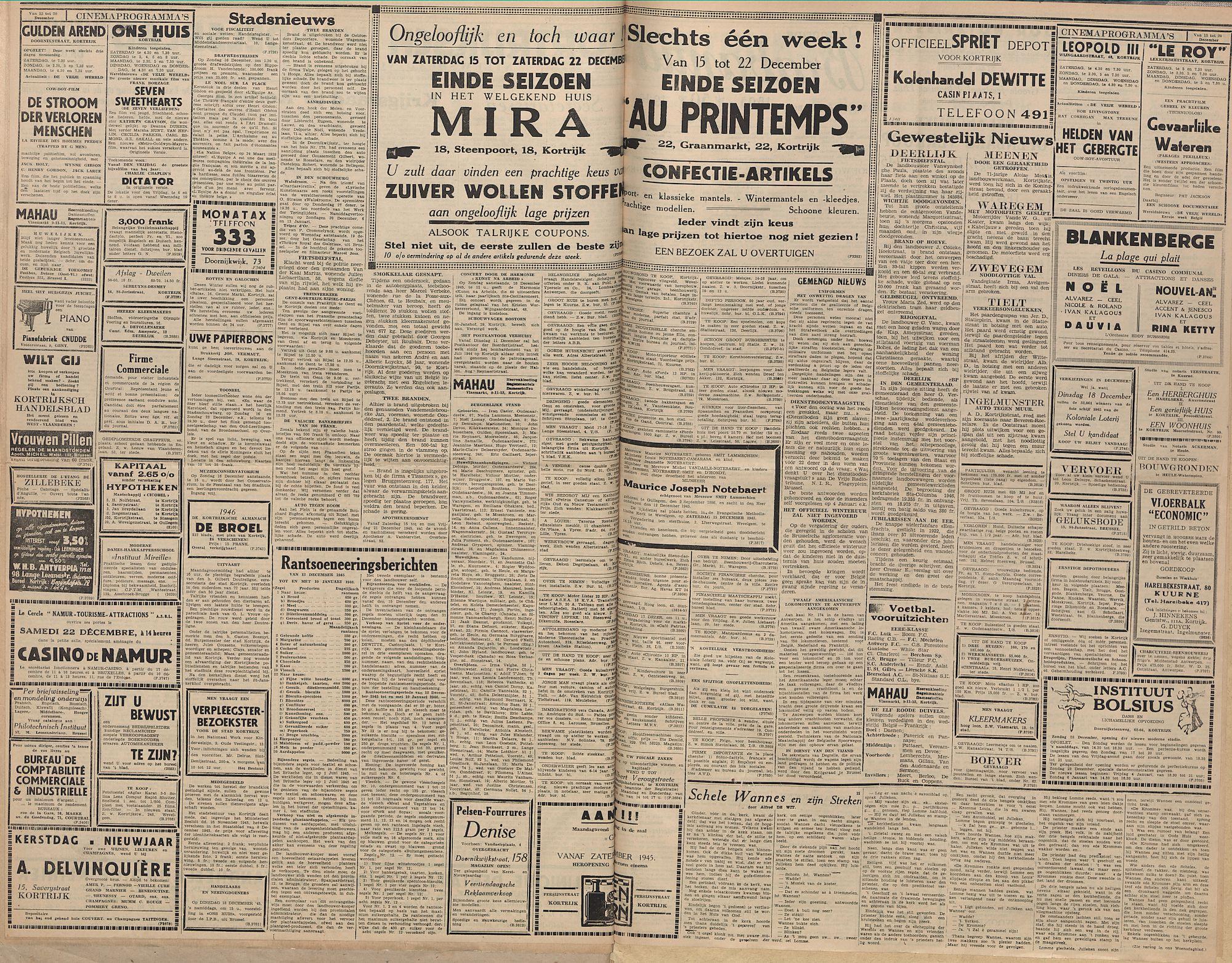 Kortrijksch Handelsblad 14 december 1945 Nr99 p2 en 3