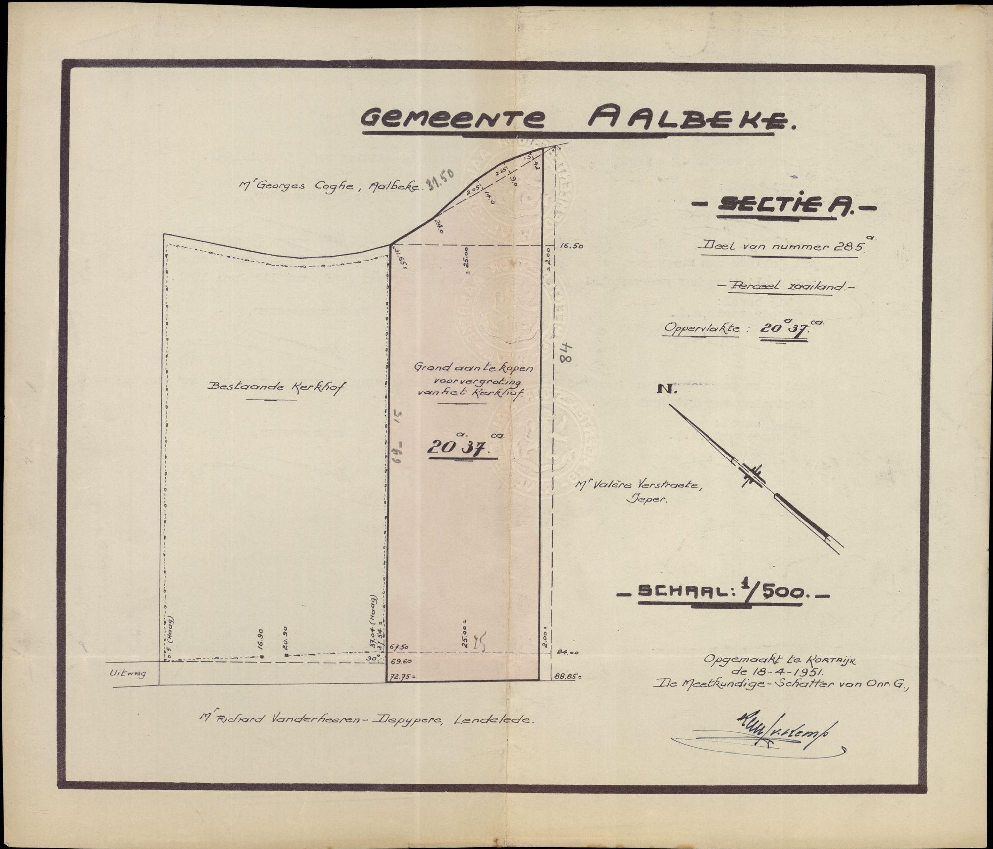 Plannen van het Kerkhof  van Aalbeke, 1951