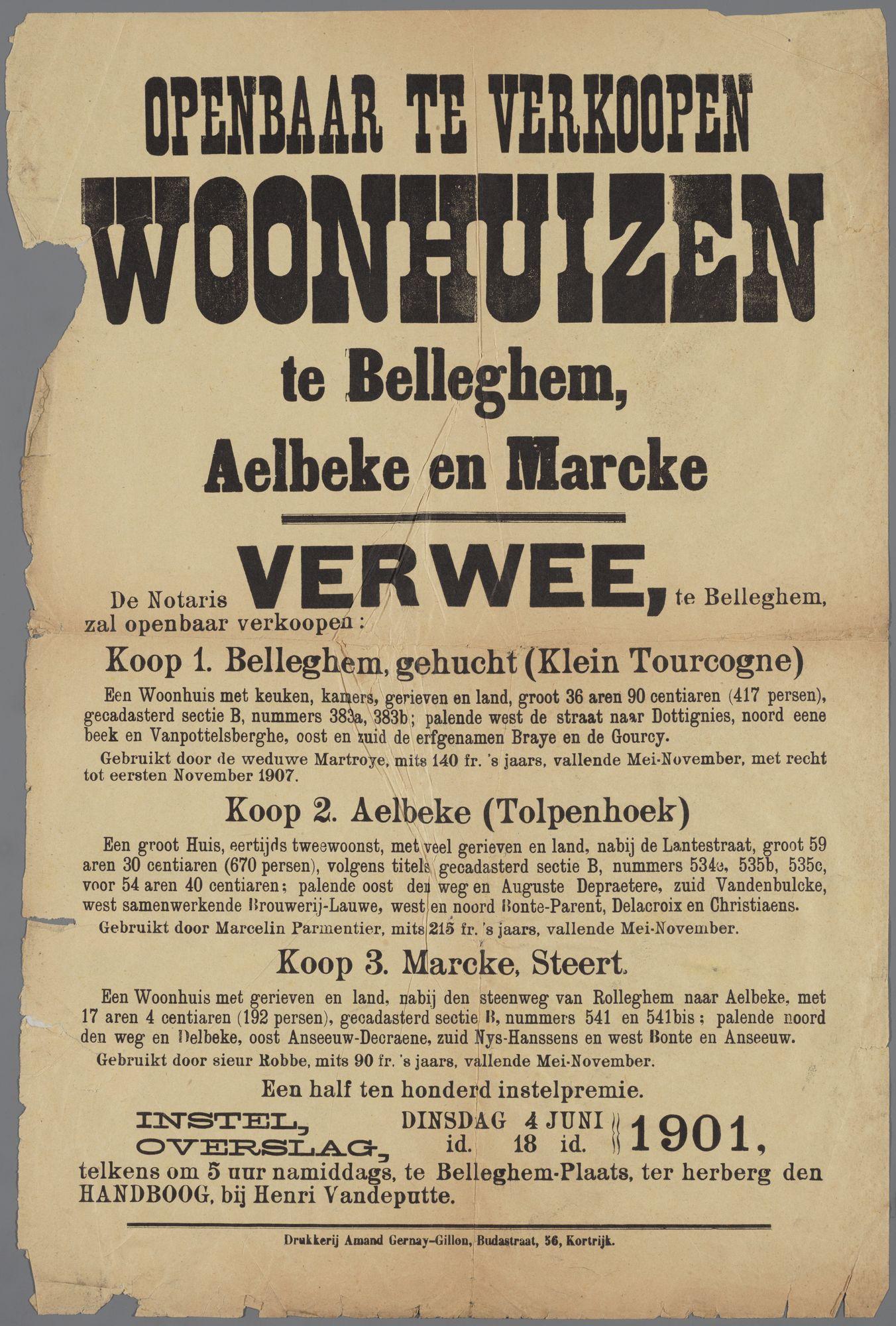 Openbare verkoop te Bellegem, Aalbeke en Marke 1901