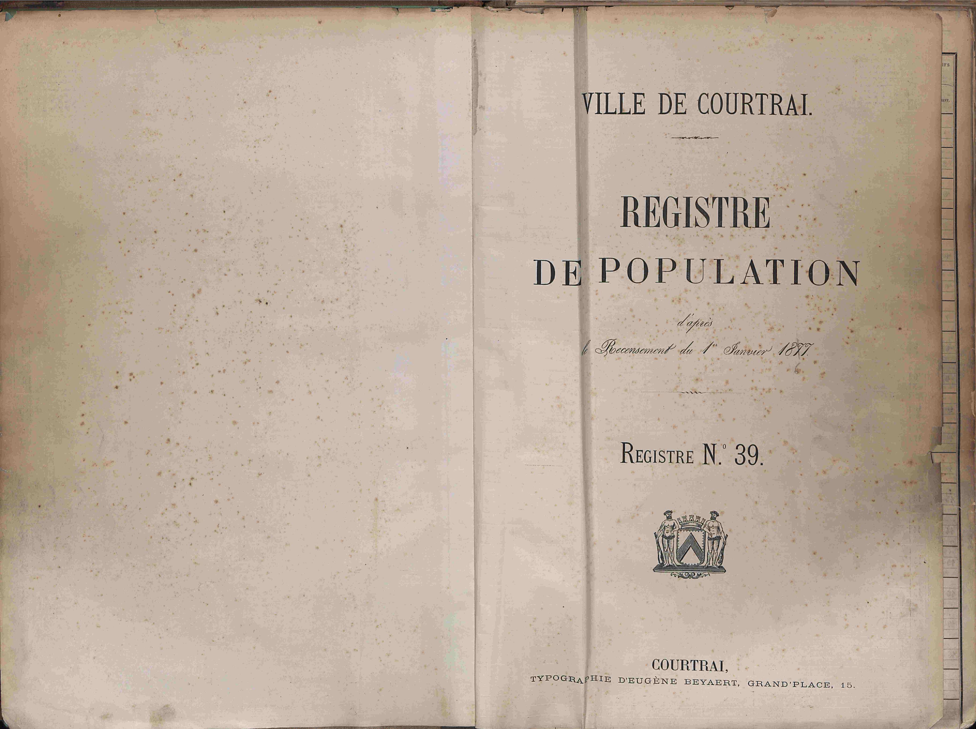 Bevolkingsregister Kortrijk 1866 boek 39