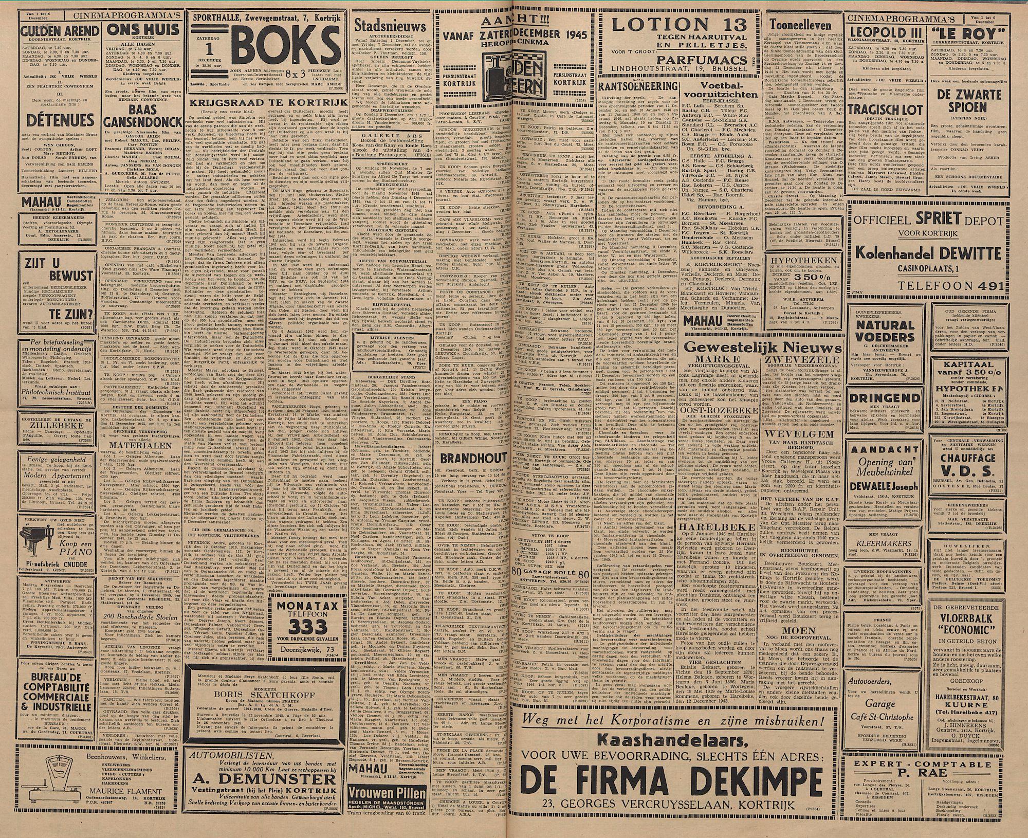 Kortrijksch Handelsblad 30 november 1945 Nr96 p2 en 3