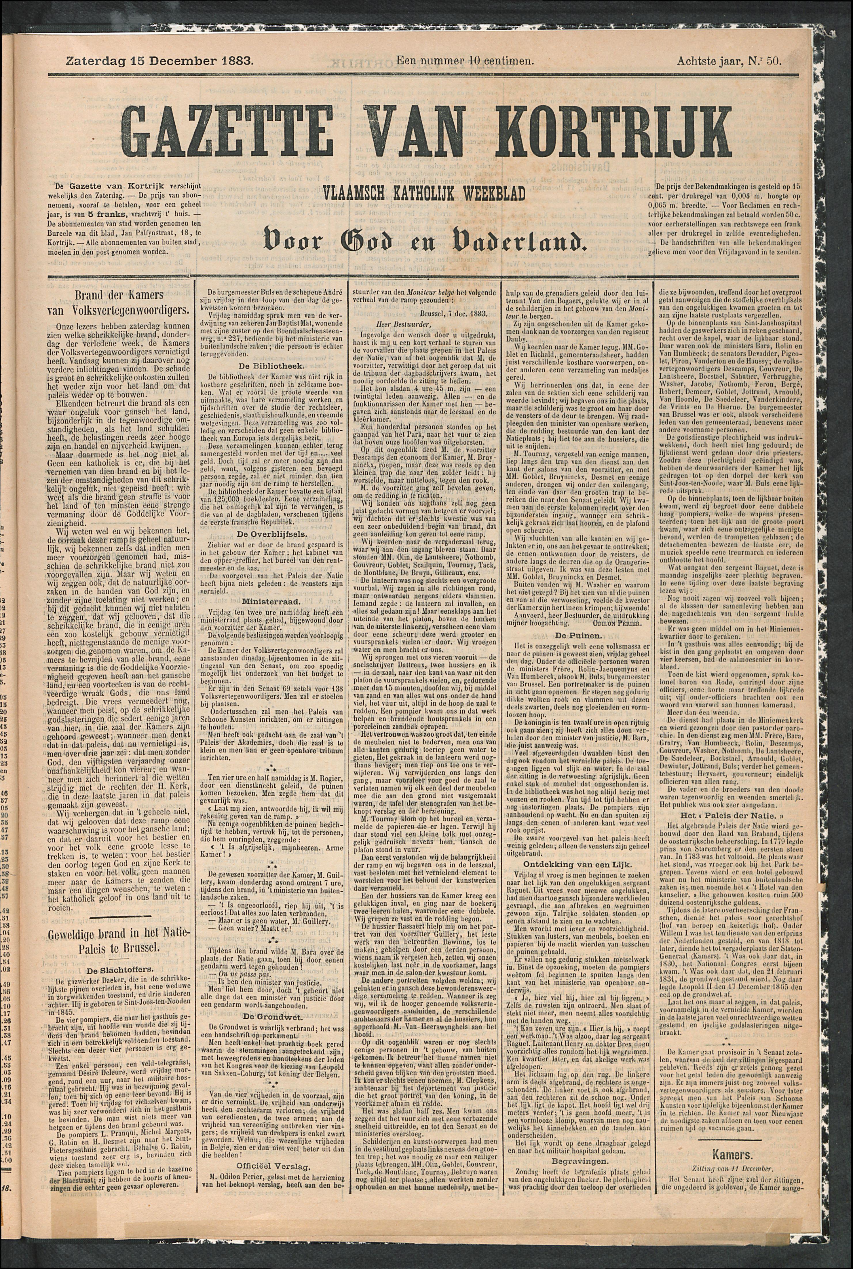 Gazette Van Kortrijk 1883-12-15 p1