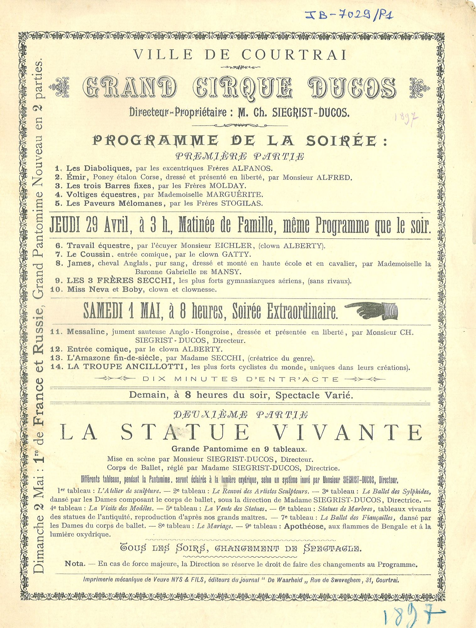 "Paasfoor 1897: programma van ""Grand Cirque Ducos"""