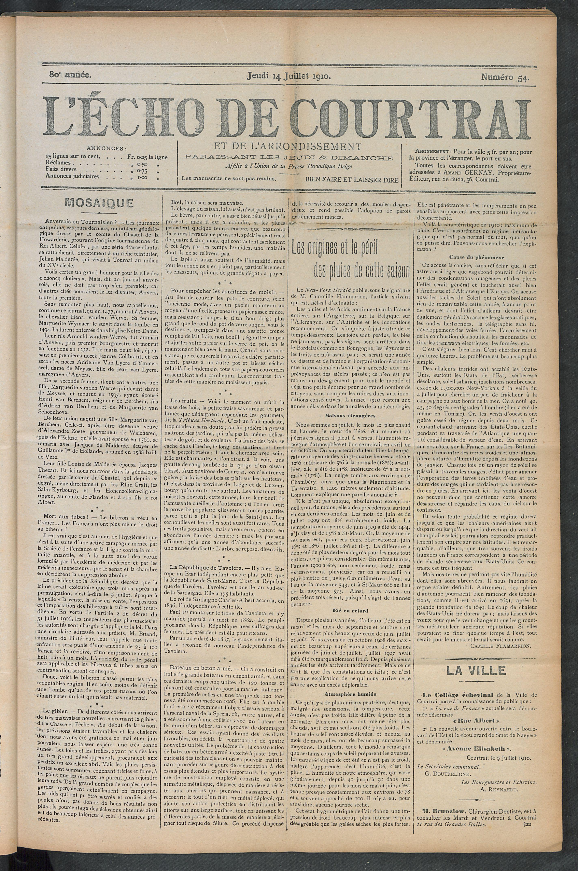 L'echo De Courtrai 1910-07-14 p1