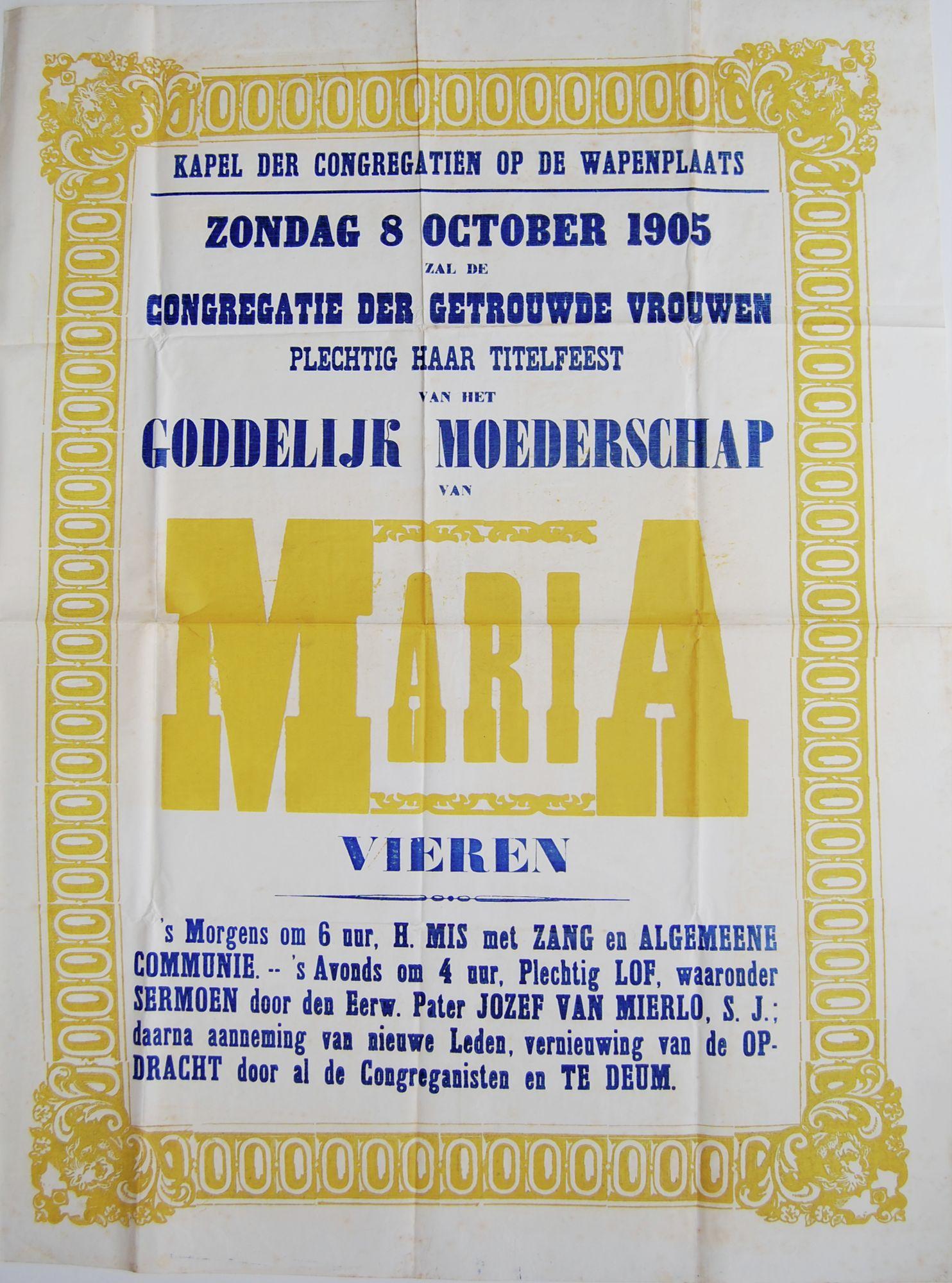 Plechtigheden Kongregatiekapel 1905
