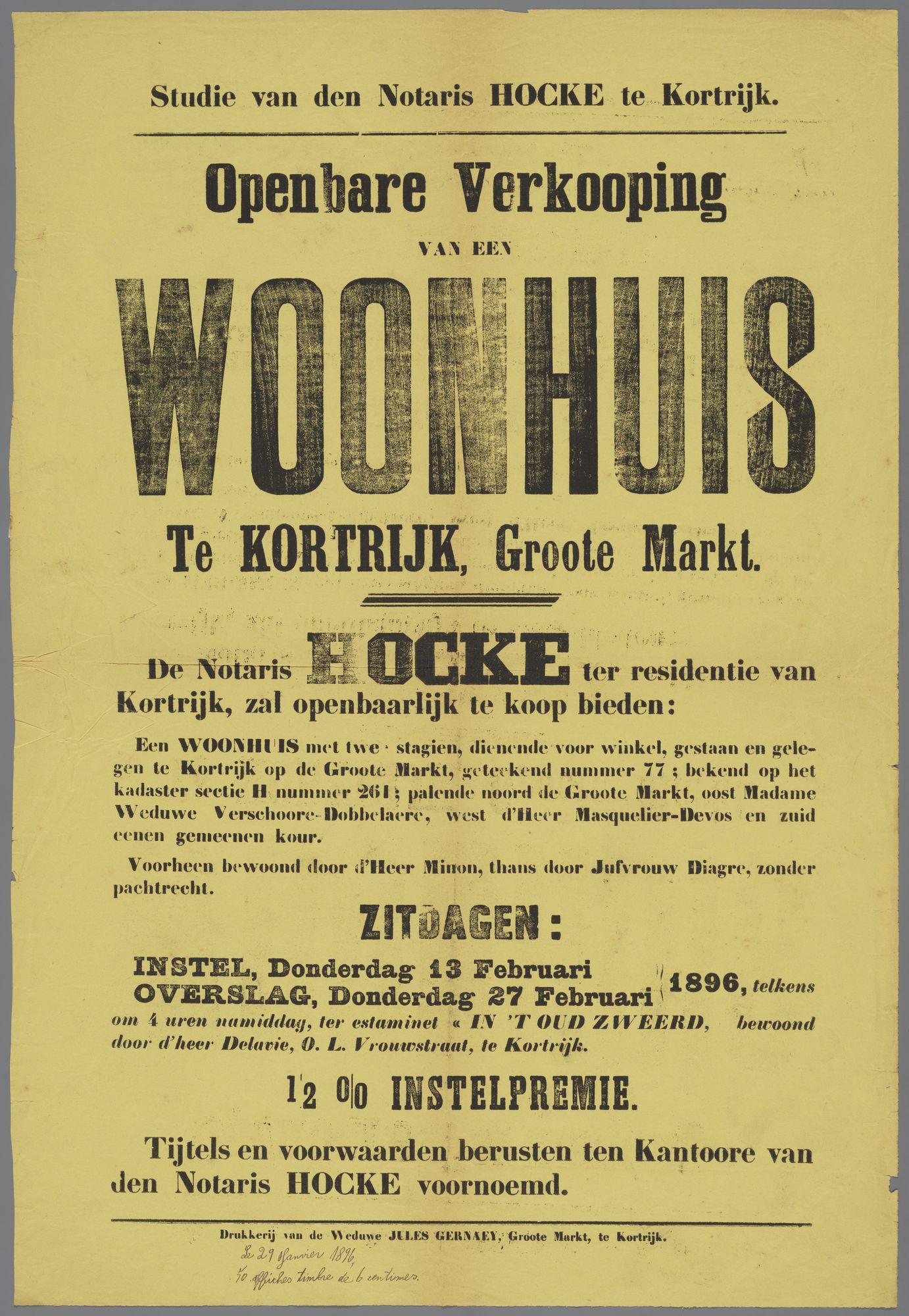 Verkoop woonhuis te Kortrijk 1896