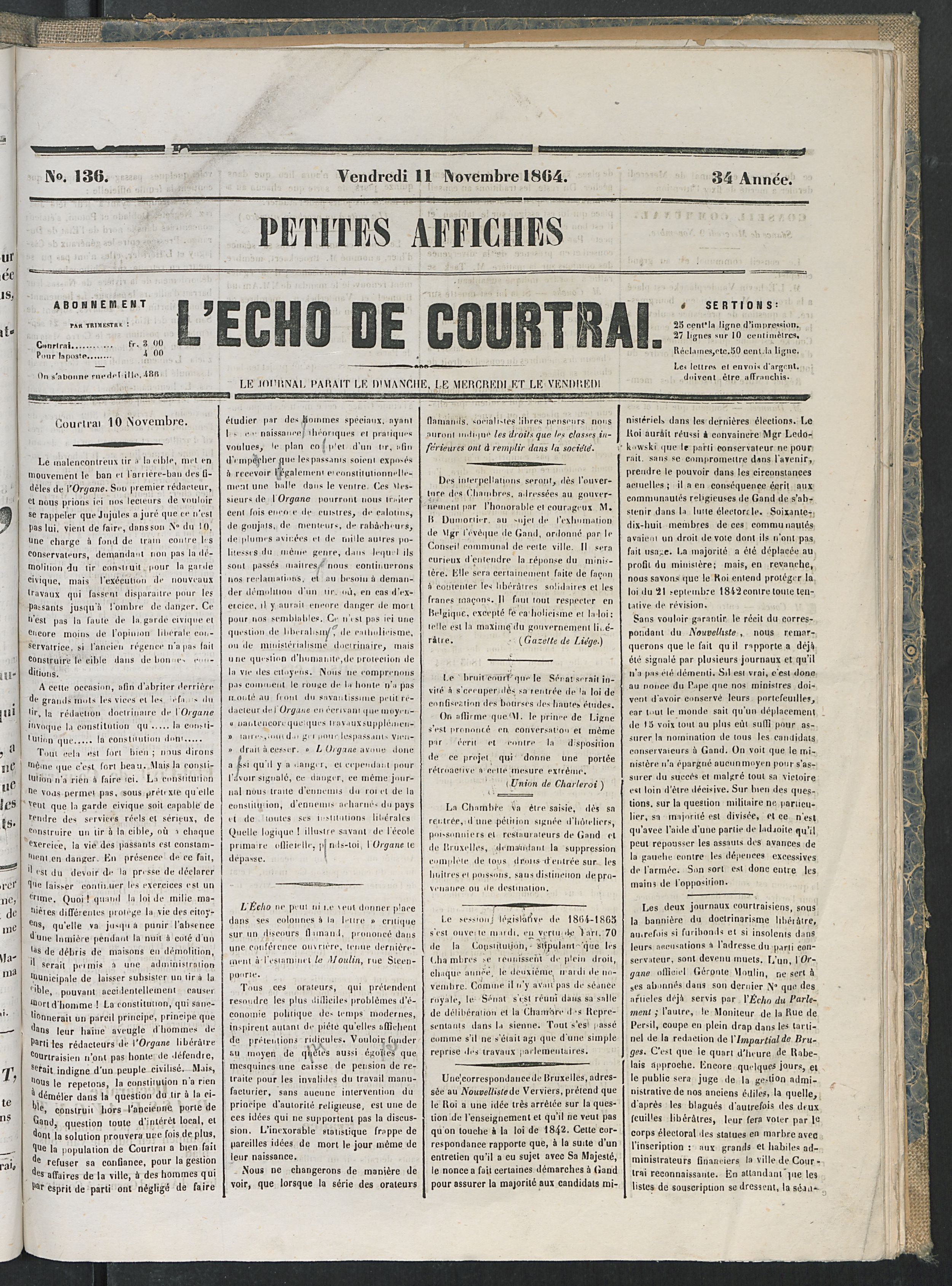 L'echo De Courtrai 1864-11-11 p1