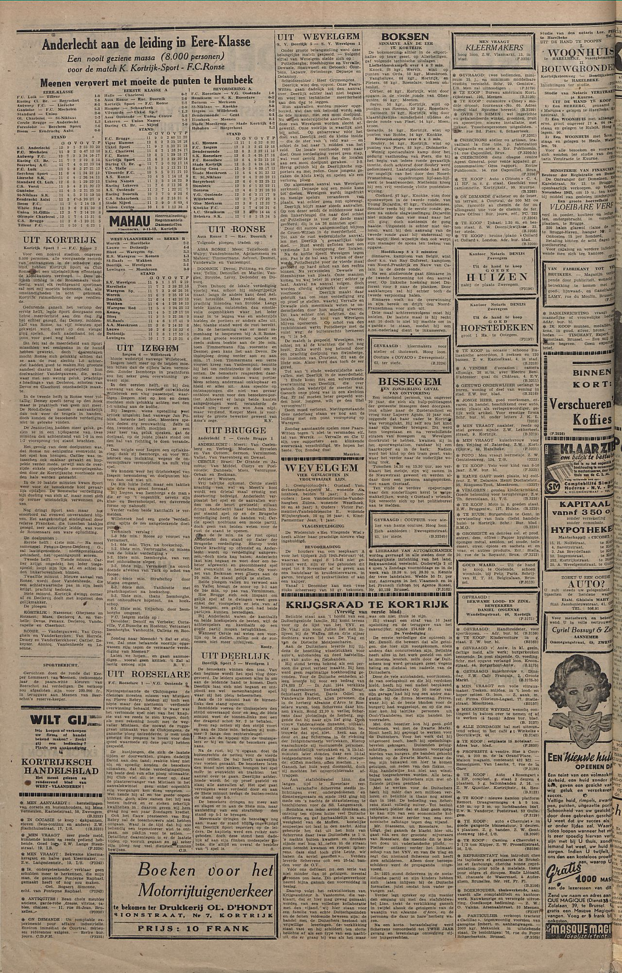 Kortrijksch Handelsblad 7 november 1945 Nr89 p2