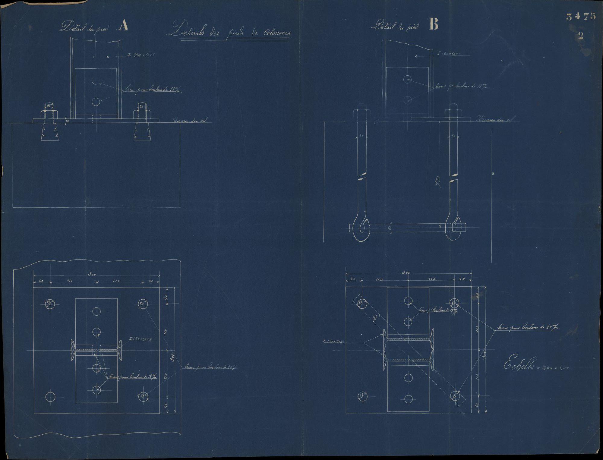 Bouwplan van ijzeren steunen voor de overdekte markt te Kortrijk, 19de eeuw