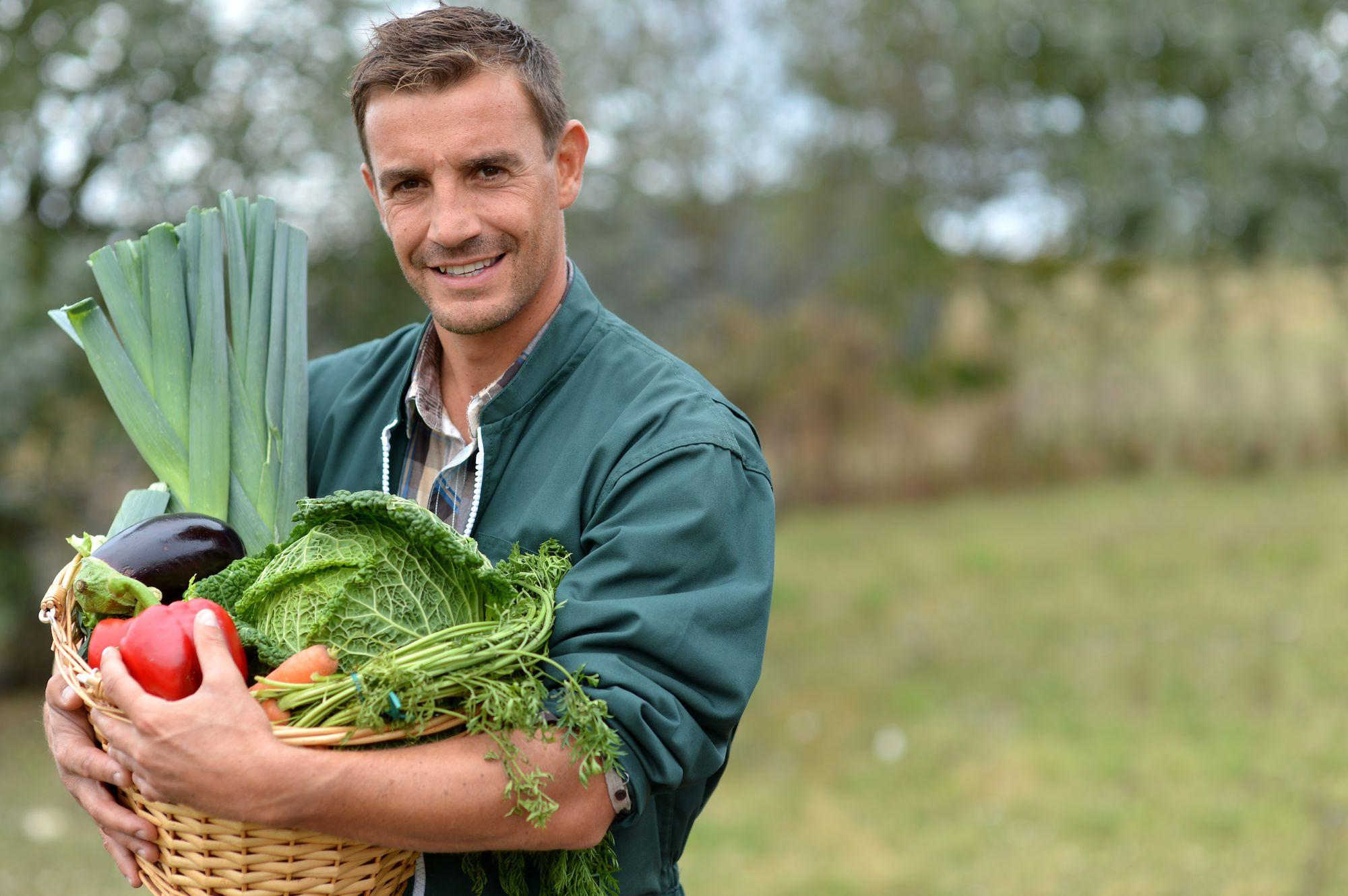 Gelukkige groentenboer