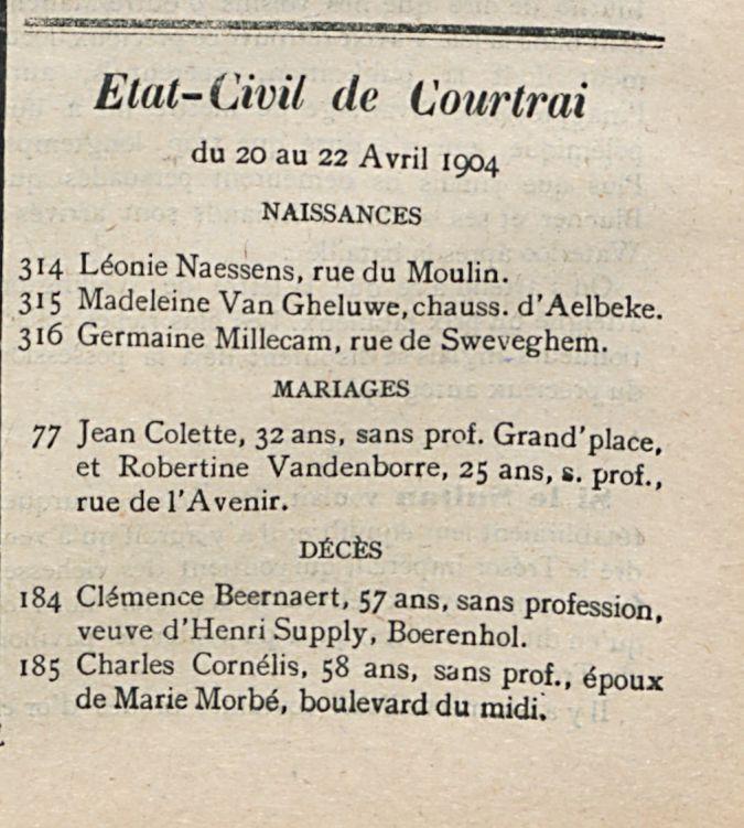 Etat-Civil de Courtrai