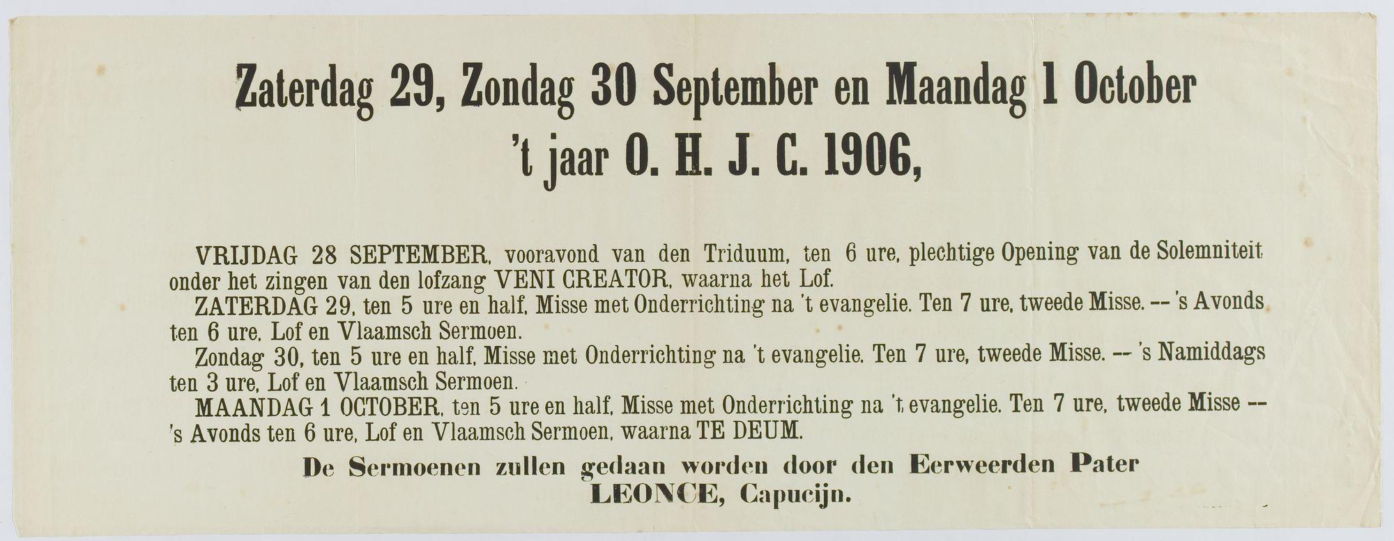 Plechtigheden 1906