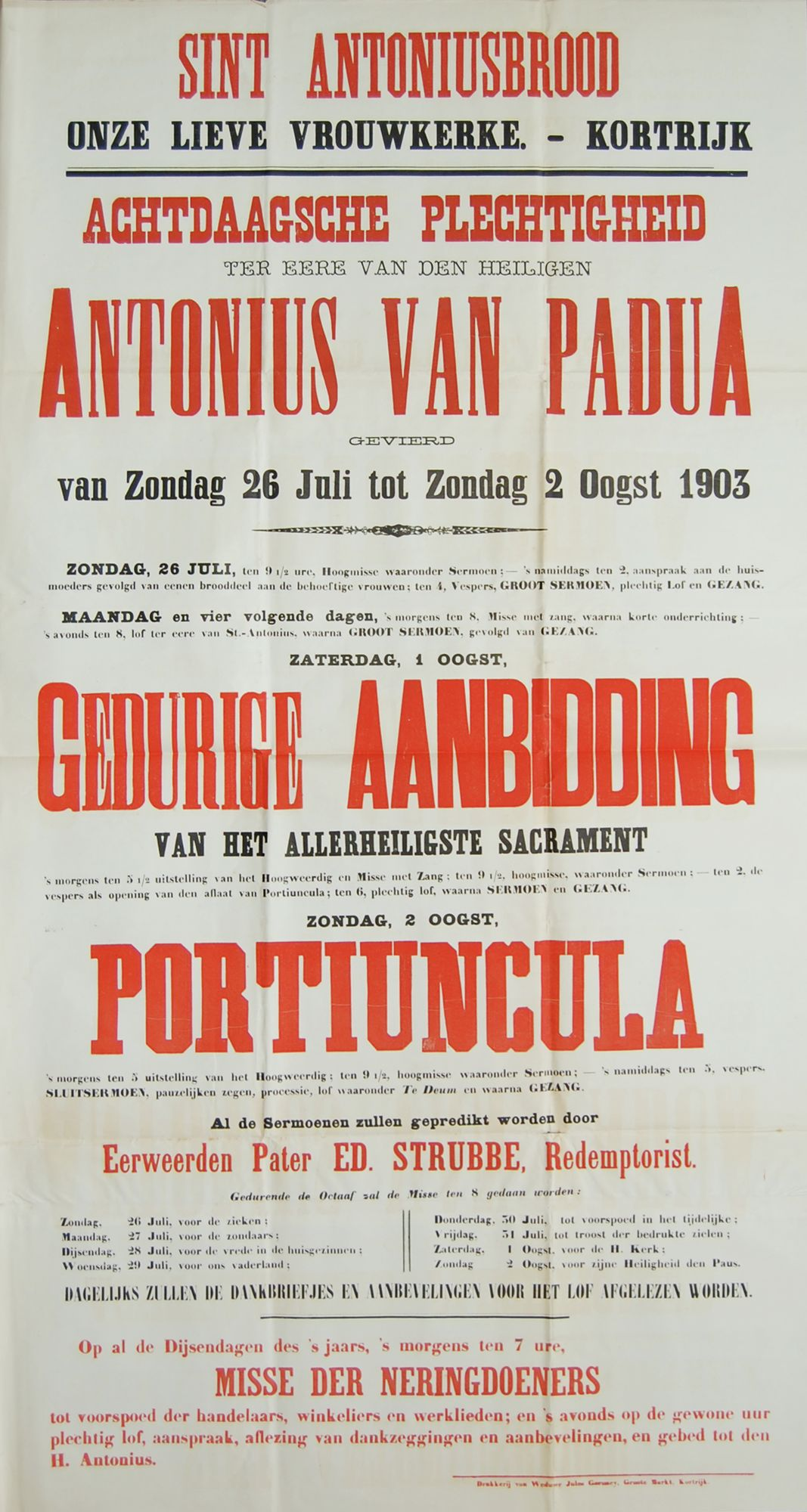 Plechtigheden O.-L.-Vrouwekerk 1903