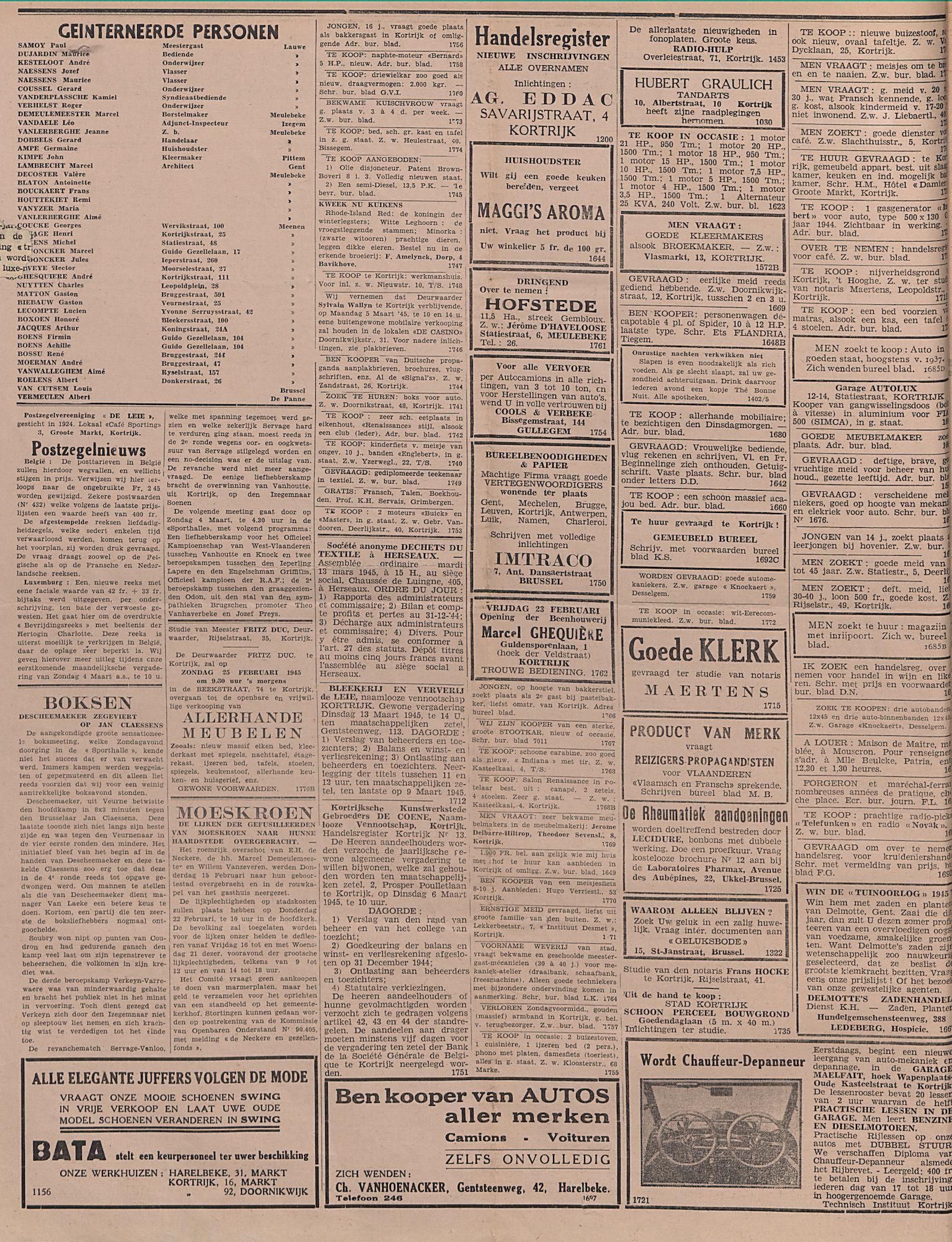 Kortrijksch Handelsblad 21 februari 1945 Nr15 p2