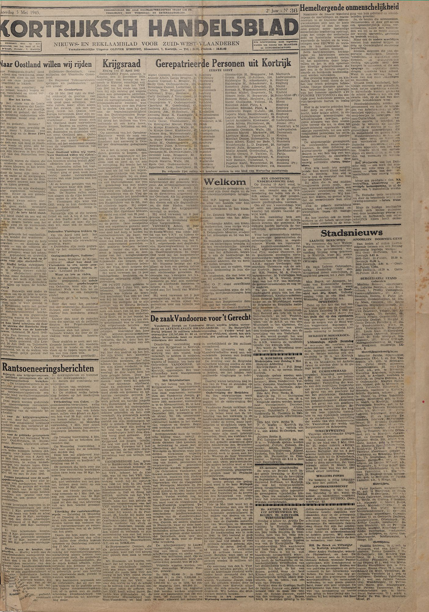 Kortrijksch Handelsblad 5 mei 1945 Nr36 p1
