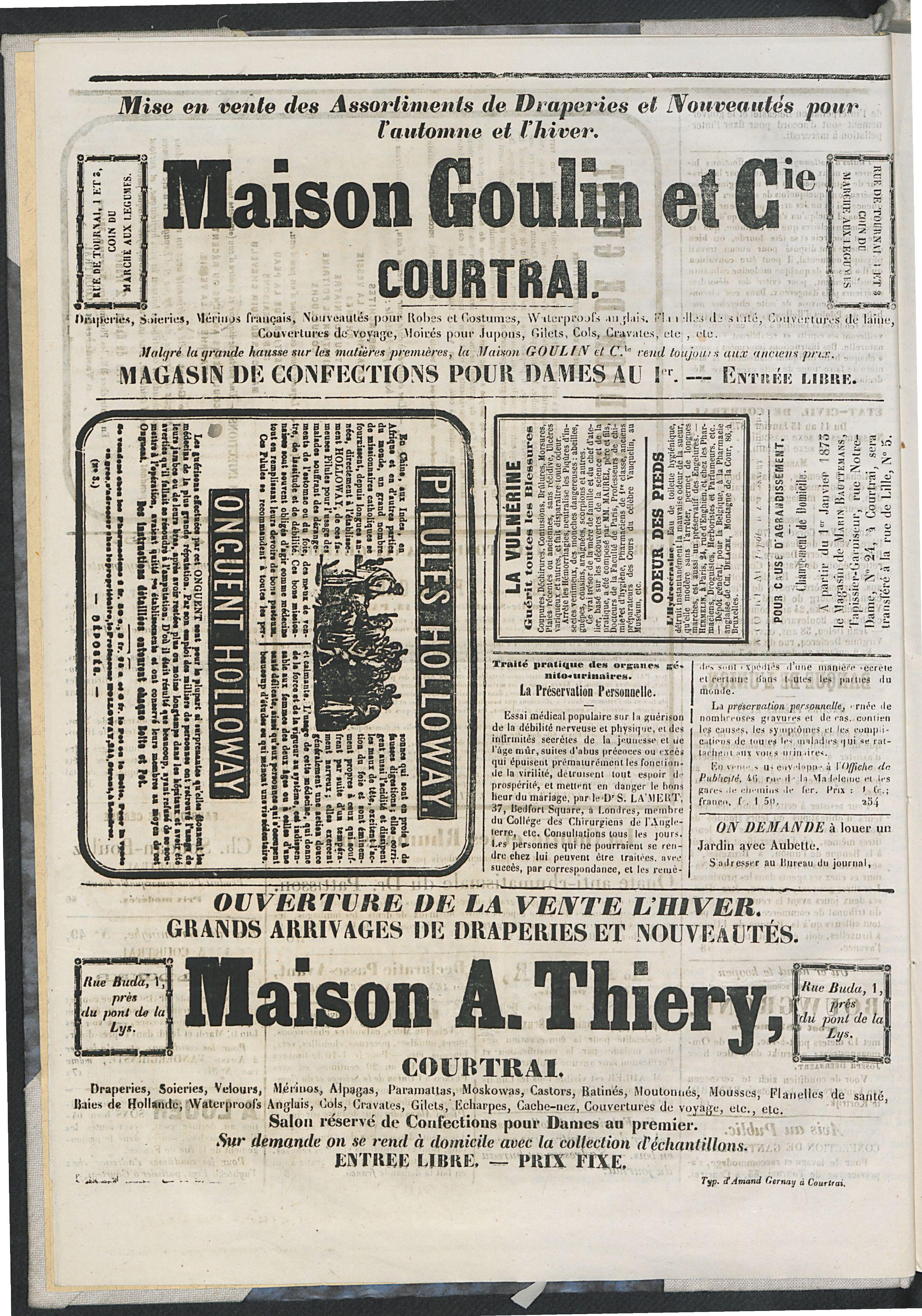 L'echo De Courtrai 1873-01-16 p4