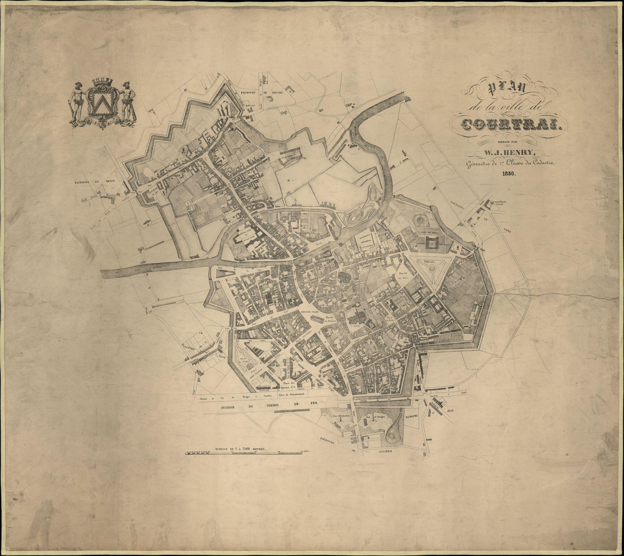 Plattegrond van de stad Kortrijk, opgemaakt door W.J. Henry, landmeter van het kadaster, 1850