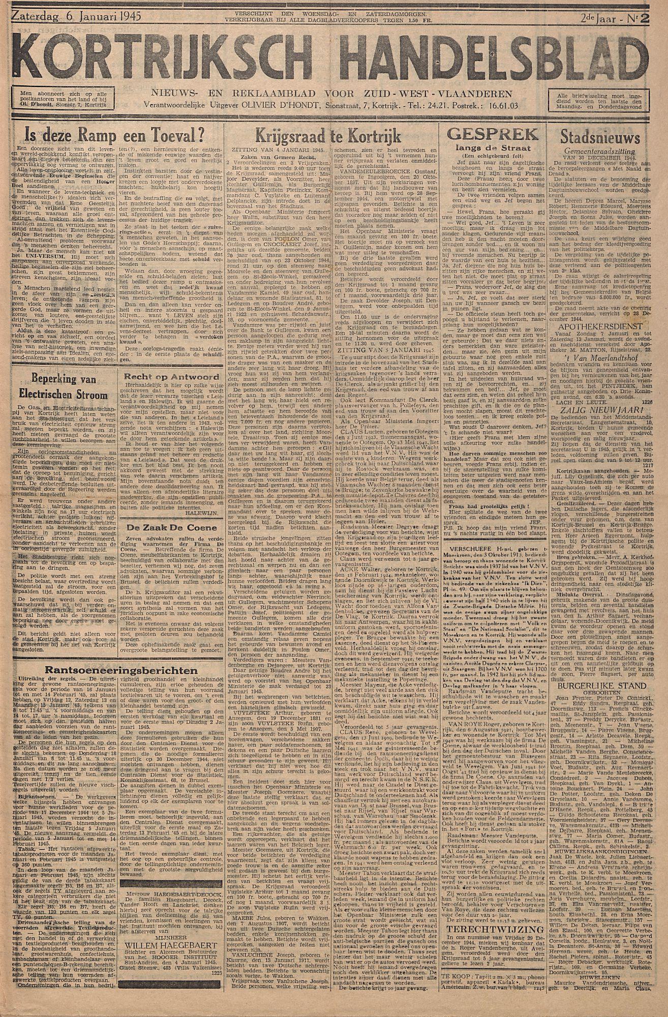 Kortrijksch Handelsblad 6 januari 1945 Nr2 p1