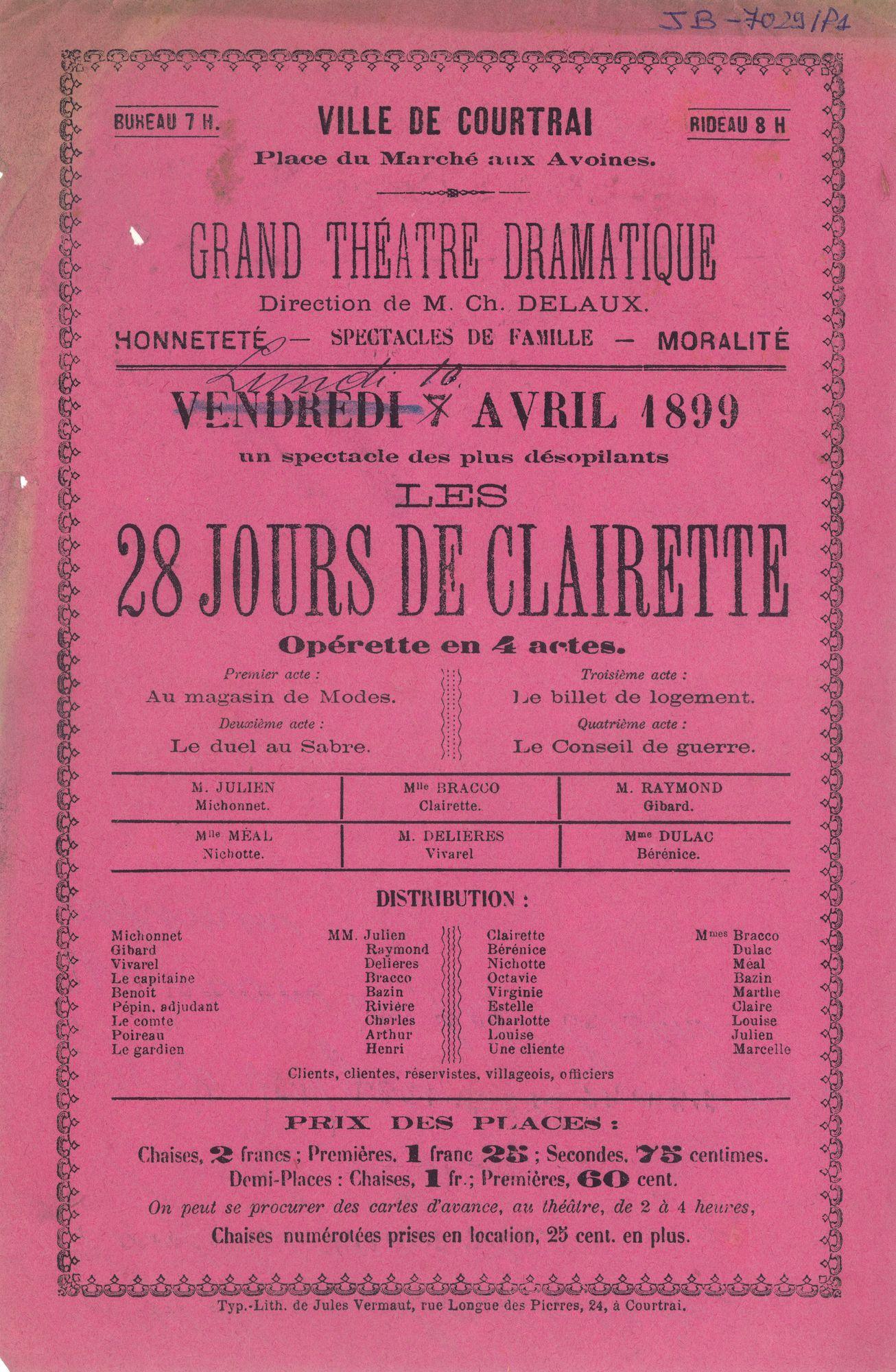 """Paasfoor 1899: operette """"Les 28 jours de Clairette"""