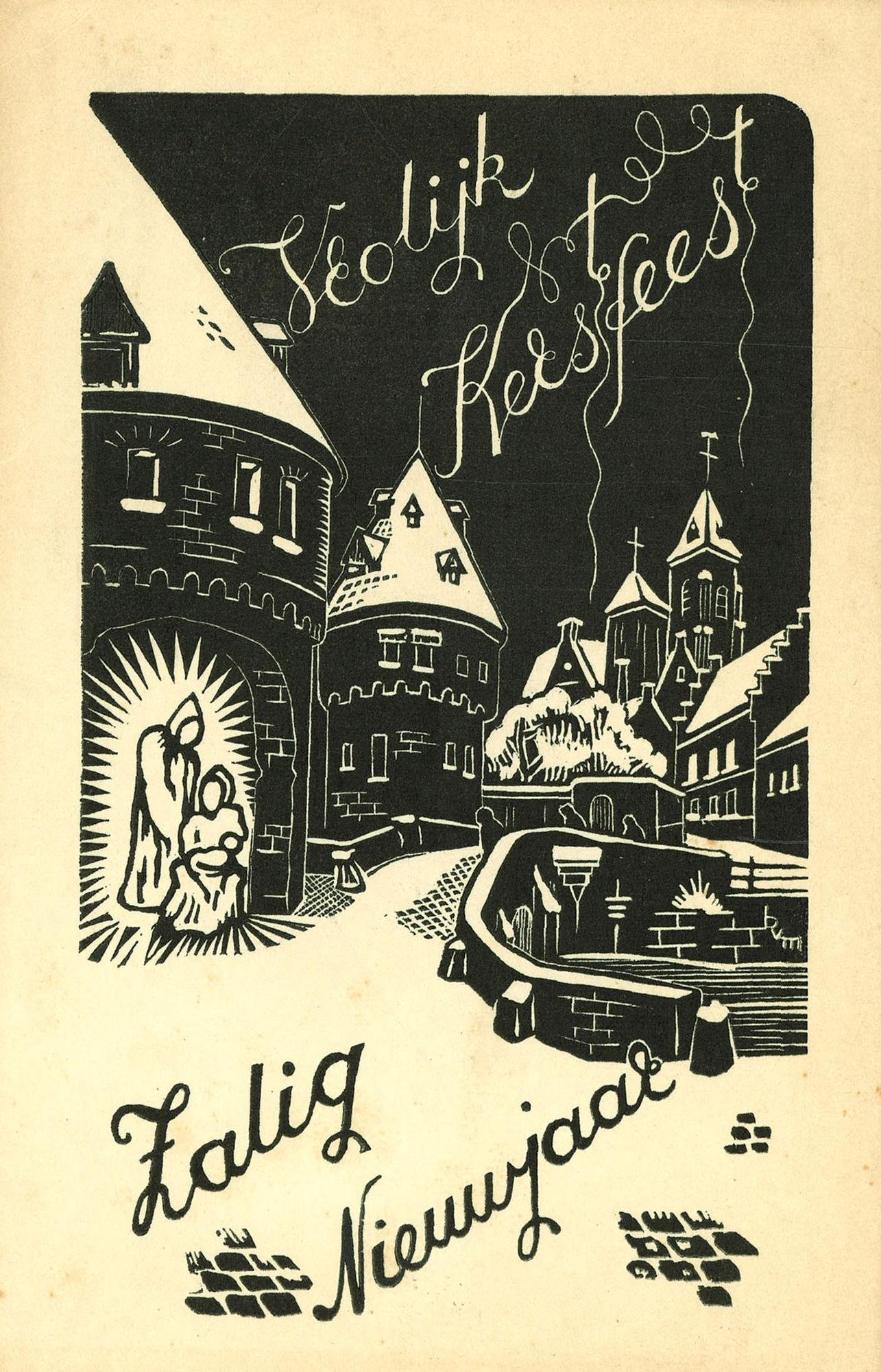 Wenskaart met een tekening van de Broelbrug, de Berg van Barmhartigheid en de Onze-Lieve-Vrouwekerk