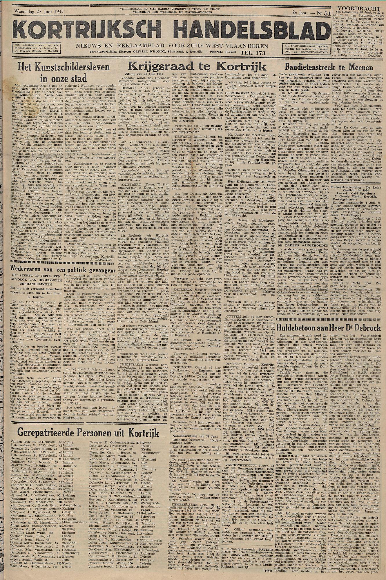 Kortrijksch Handelsblad 27 juni 1945 Nr51 p1