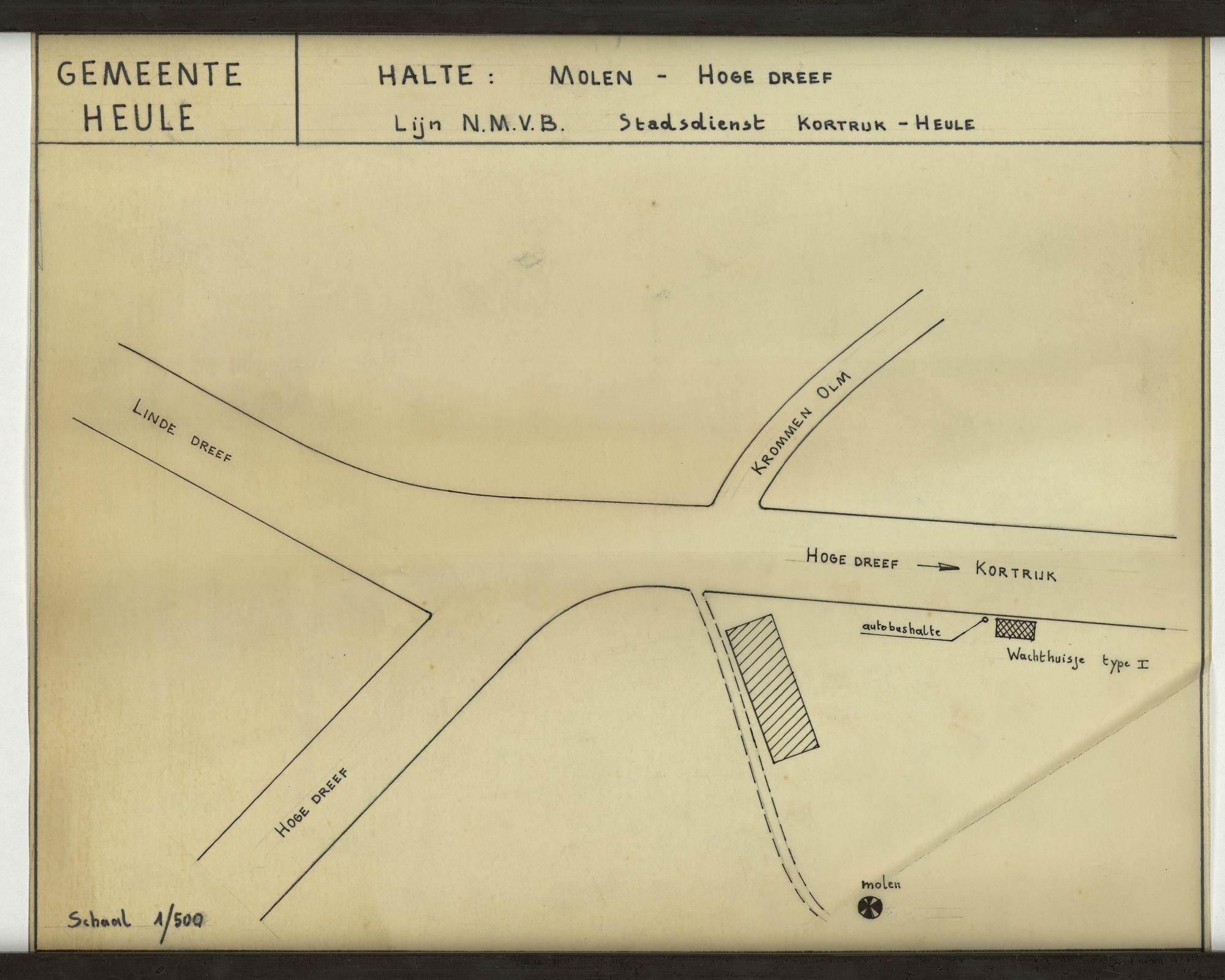 Plan van debushalte Molen- Hoge Dreef op de lijn N.M.V.B. stadsdienst Kortrijk-Heule, 2de helft 20ste eeuw