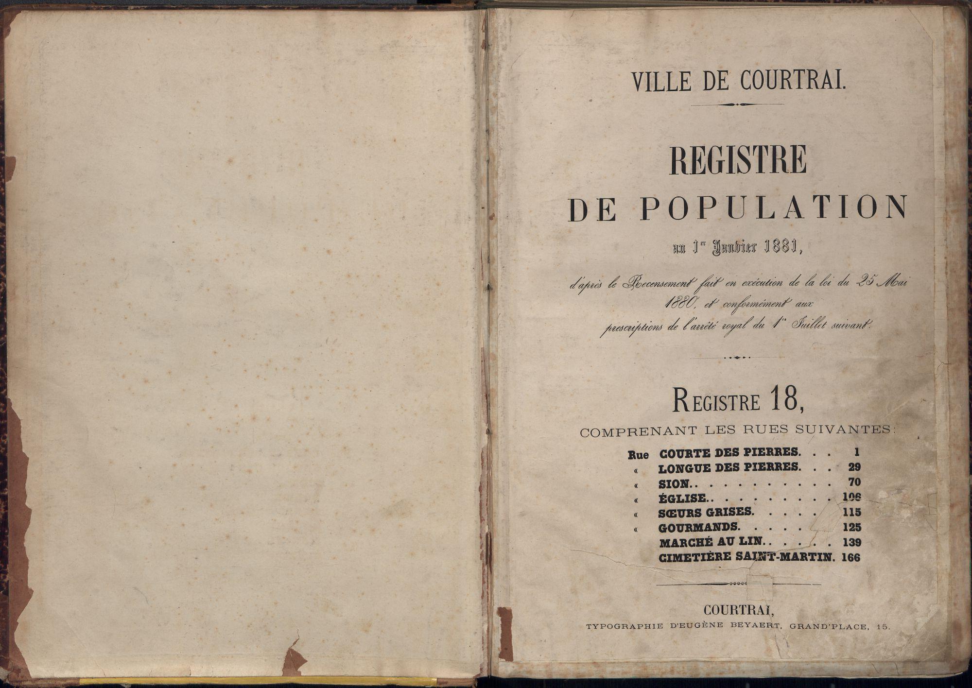 Bevolkingsregister Kortrijk 1880 boek 18