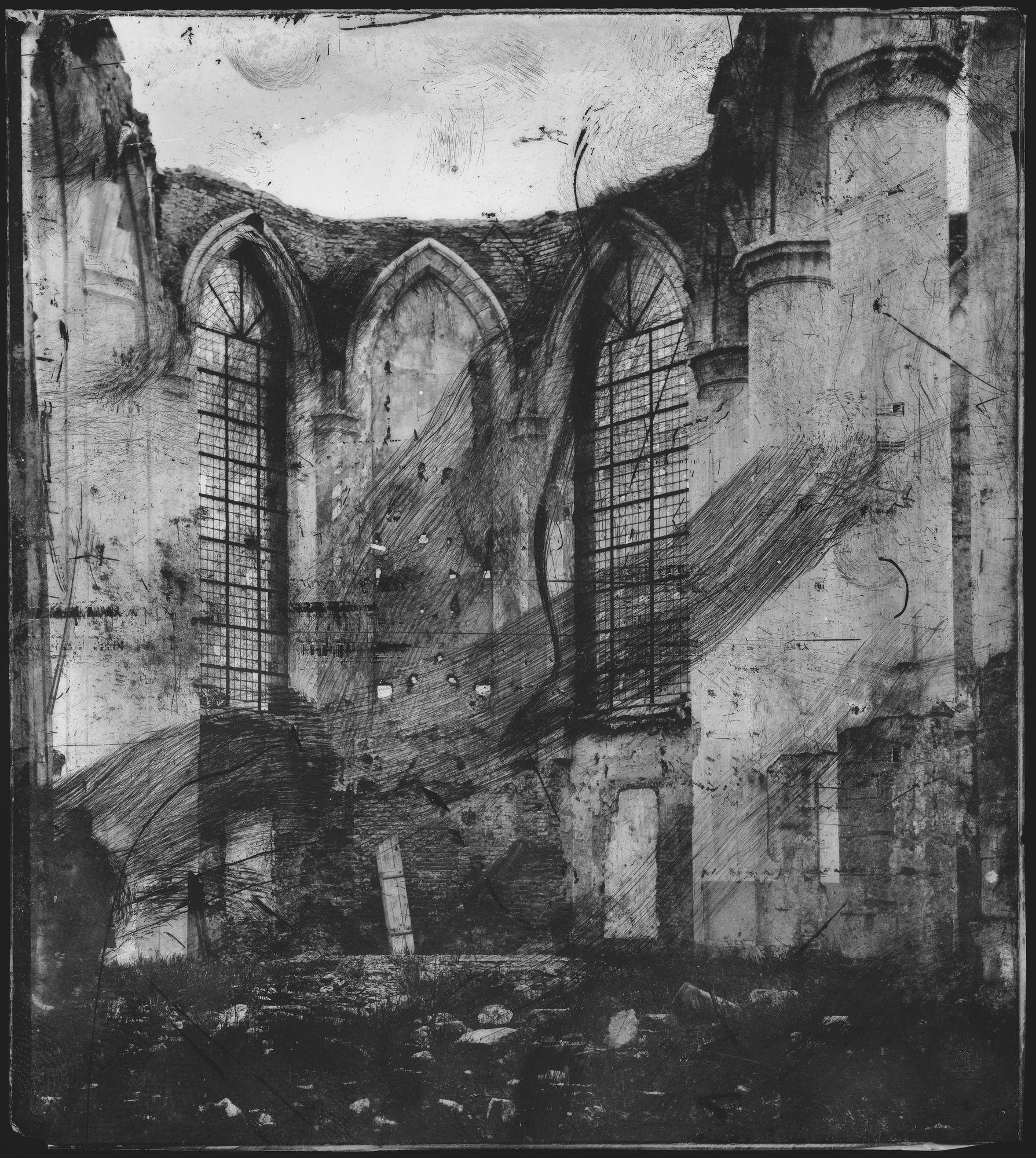 De Sint-Maartenskerk na de blikseminslag in 1862